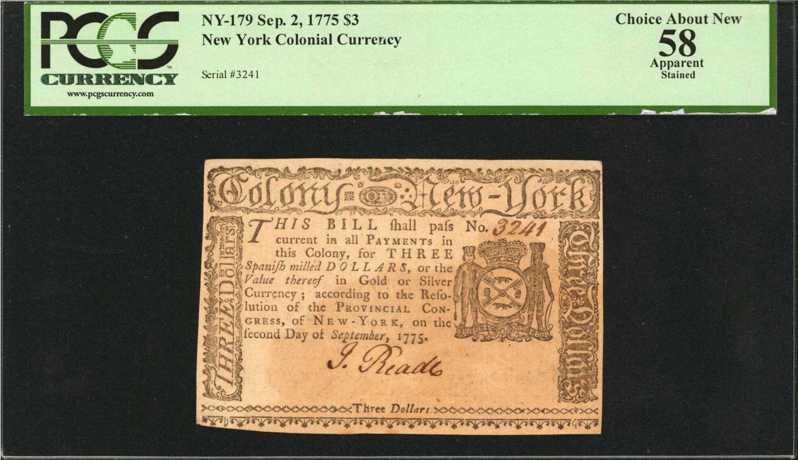 sample image for 1775 2-Sep $3  (Fr.# NY179)