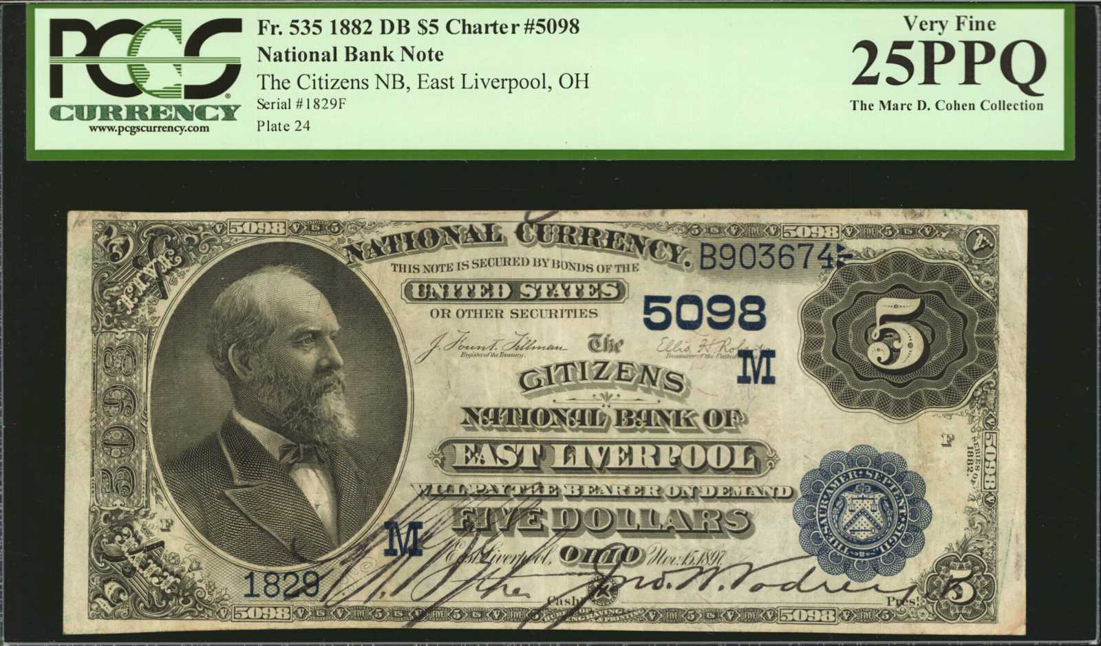 sample image for 1882 2nd Charter Period $5  Date Back 2nd Issue (Fr.# 535)