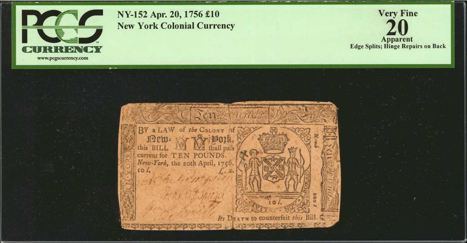 sample image for 1756 20-Apr £10 (Fr.# NY152)
