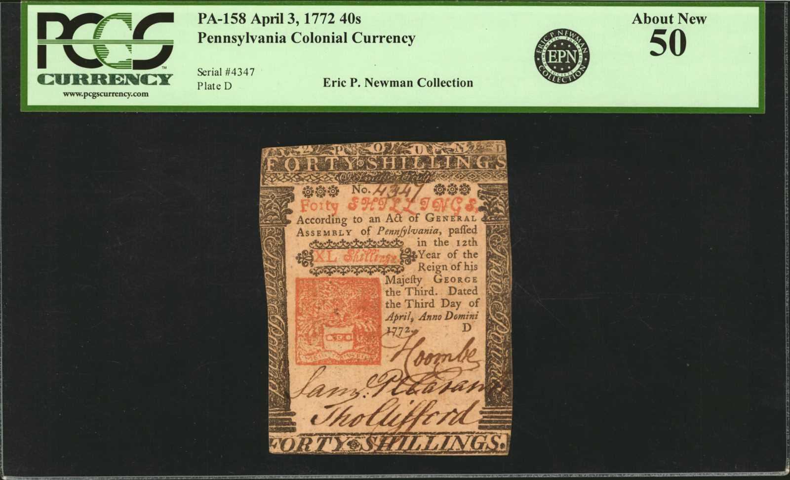 sample image for 1772 3-Apr 40s (Fr.# PA158)