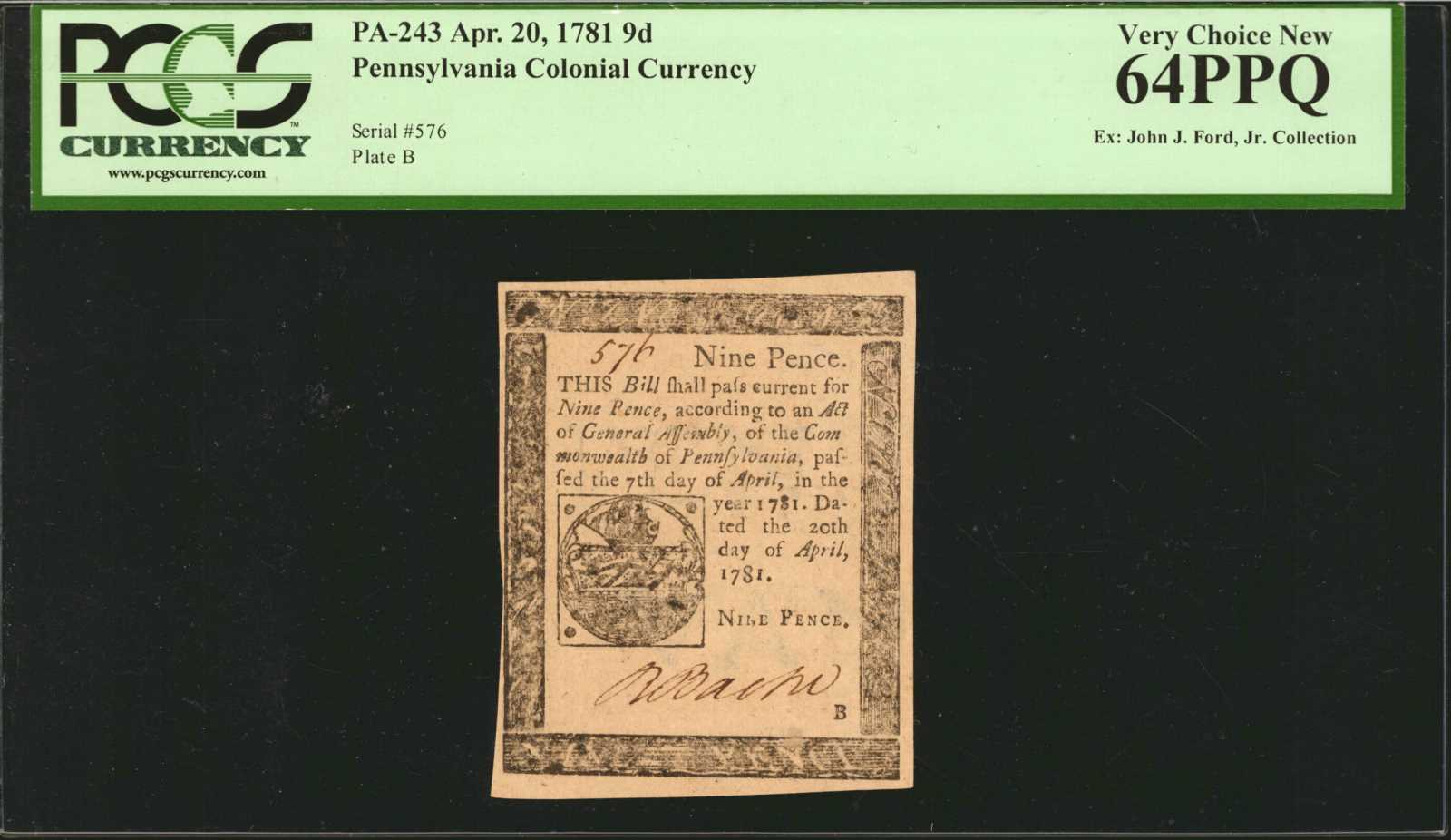 sample image for 1781 20-Apr 9d (Fr.# PA243)