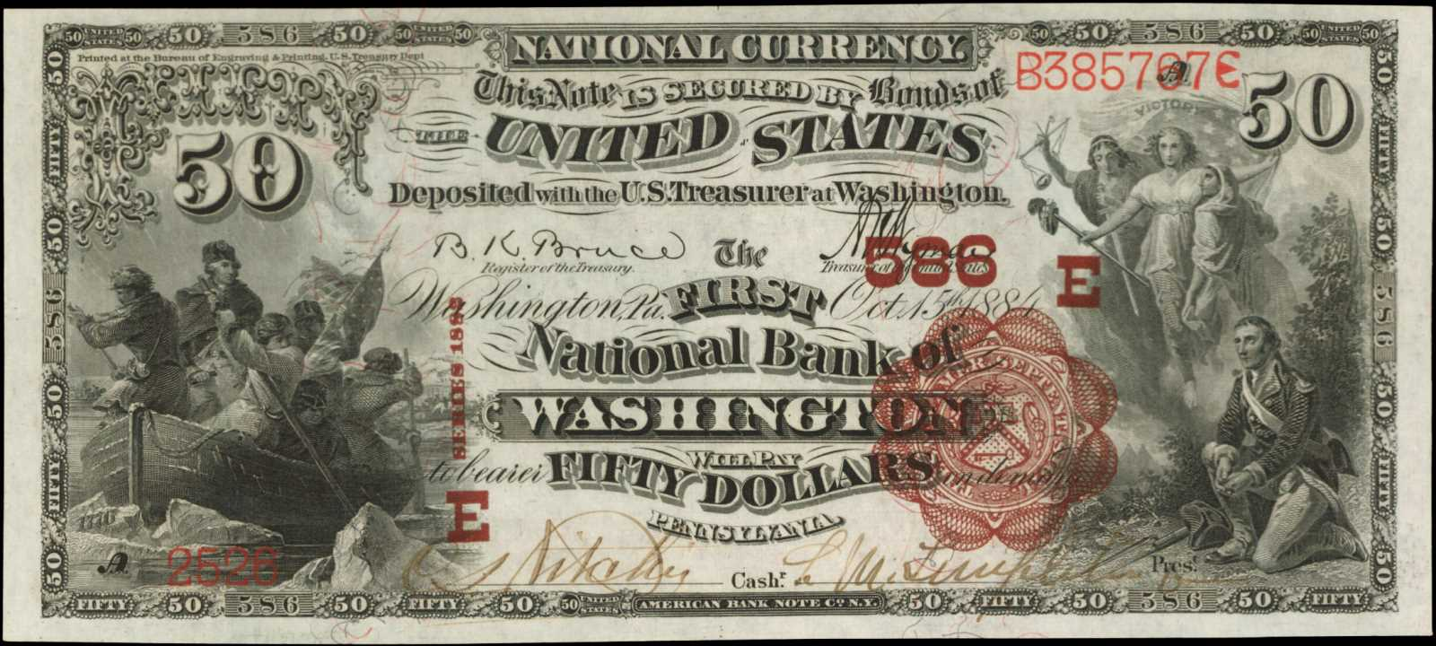 sample image for 1882 2nd Charter Period $50  Brown Back 1st Issue (Fr.# 507518TYPE) [Type]
