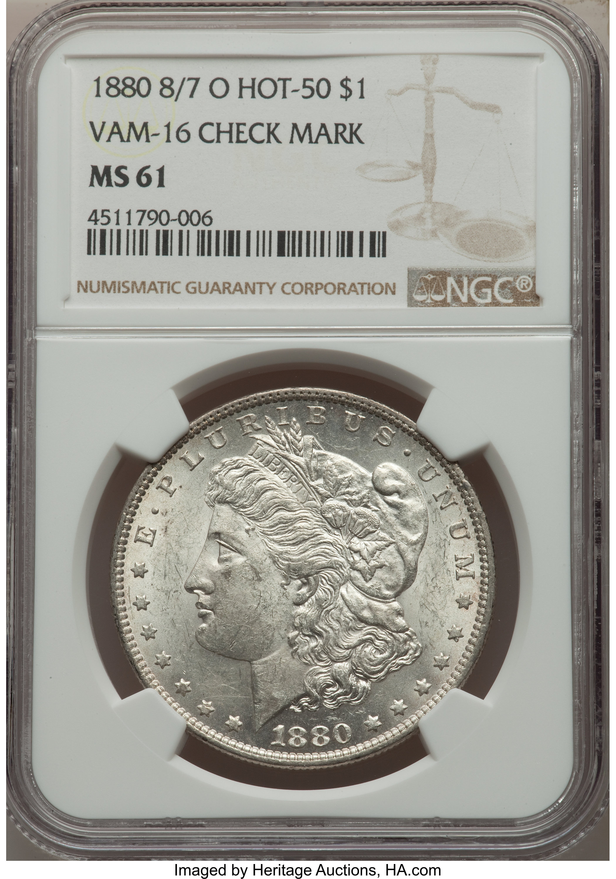 sample image for 1880-O $1  MS VAM-16, Checkmark