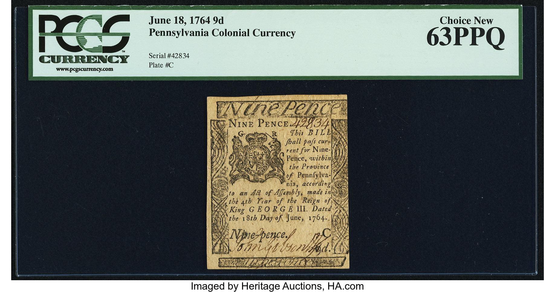 sample image for 1764 18-Jun 9d (Fr.# PA118)