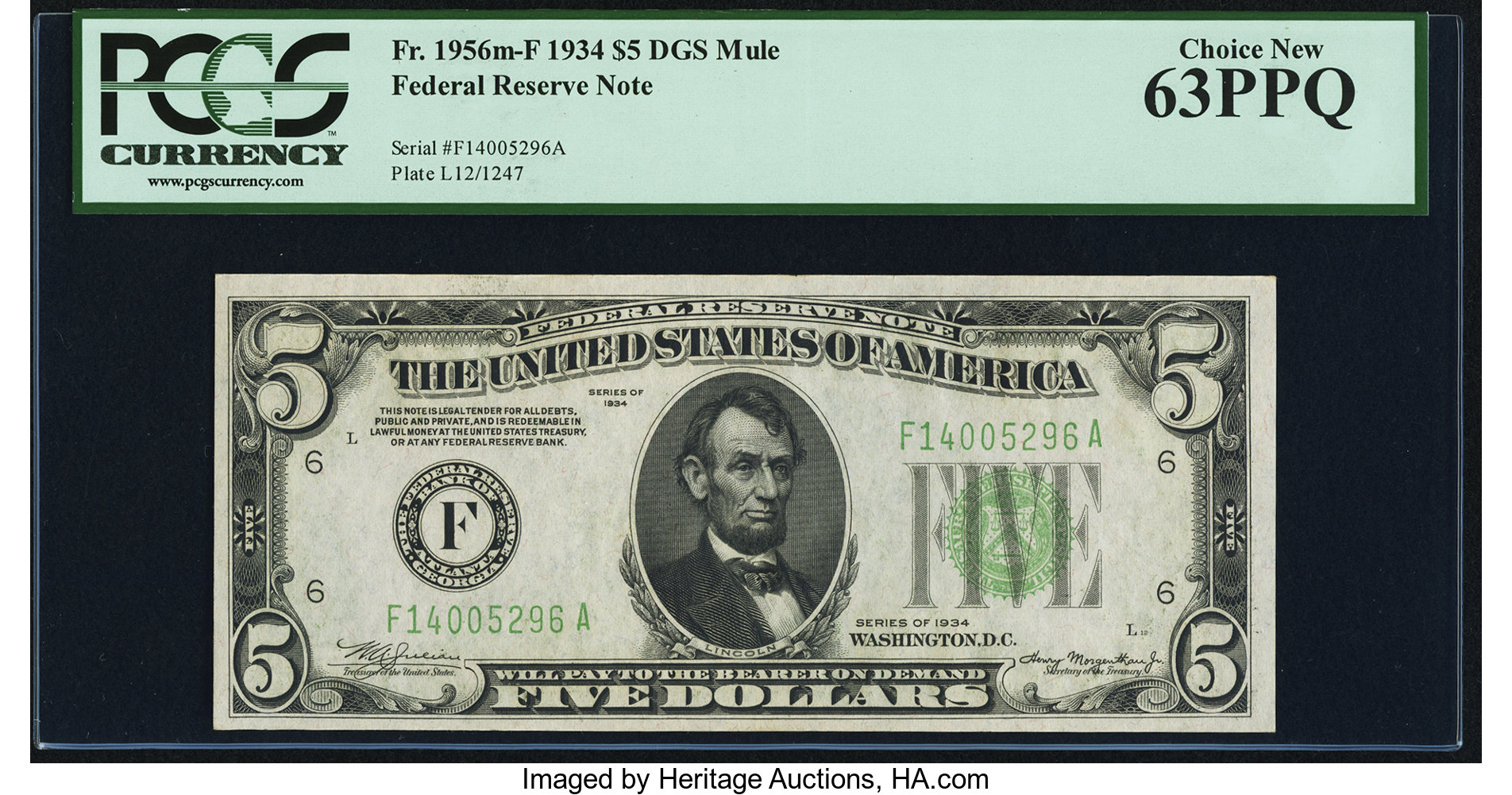 sample image for 1934 Dark Green Seal $5  Atlanta (Fr.# 1956F)