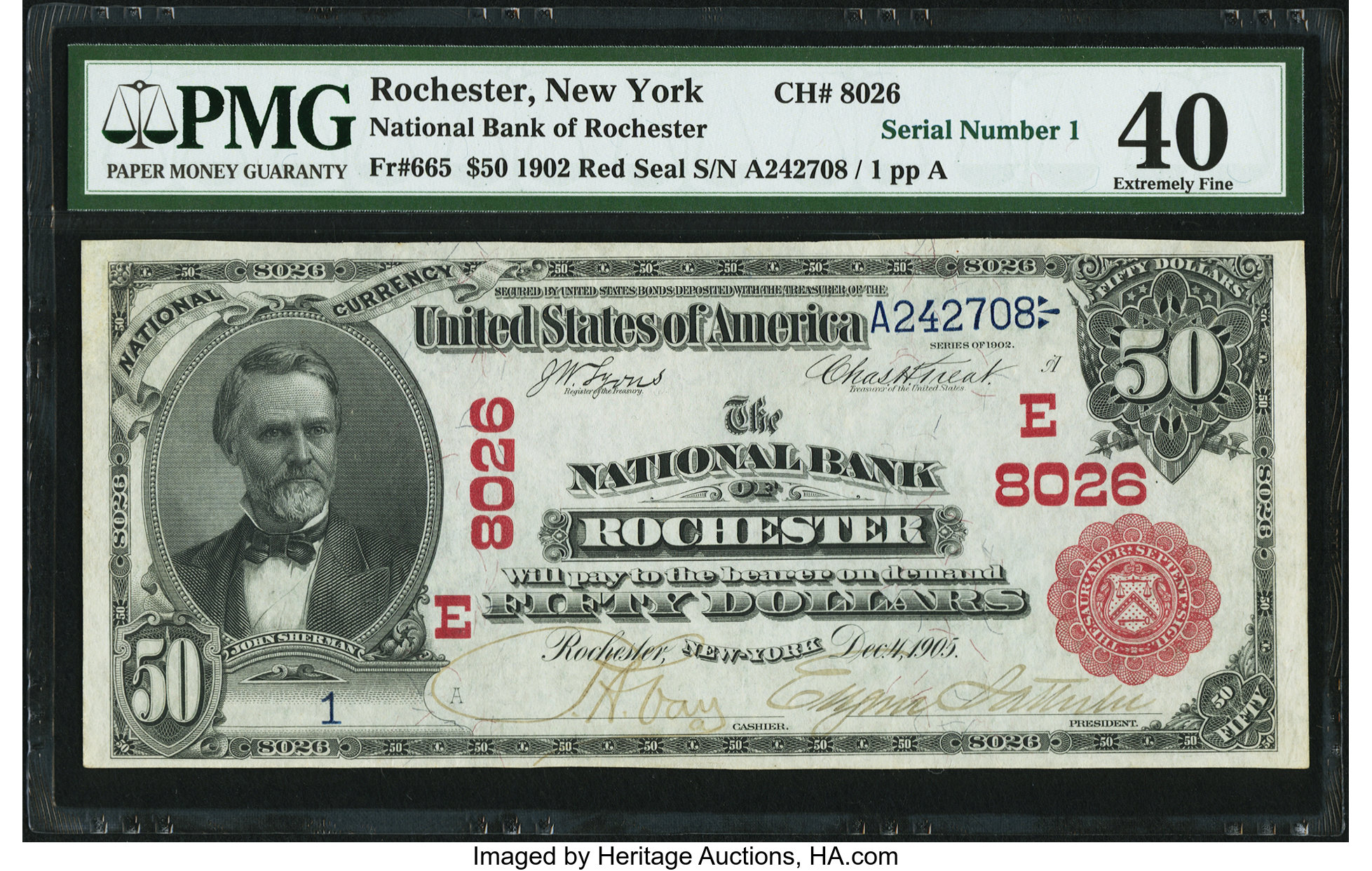 sample image for 1902 3rd Charter Period $50  Red Seal 1st Issue (Fr.# 665)