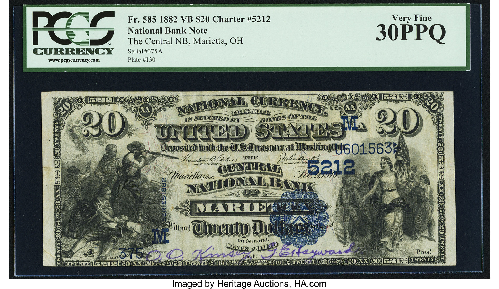 sample image for 1882 2nd Charter Period $20  Value Back 3rd Issue (Fr.# 585)
