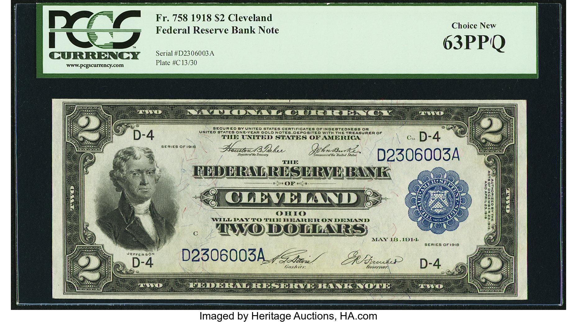 sample image for 1918 $2  Cleveland (Fr.# 758)
