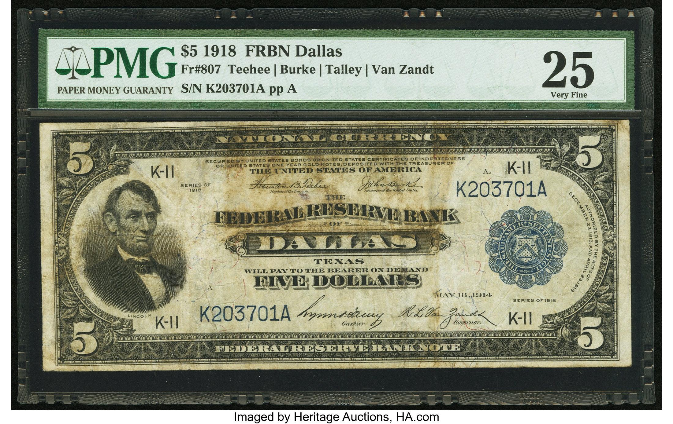 sample image for 1918 $5  Dallas (Fr.# 807)