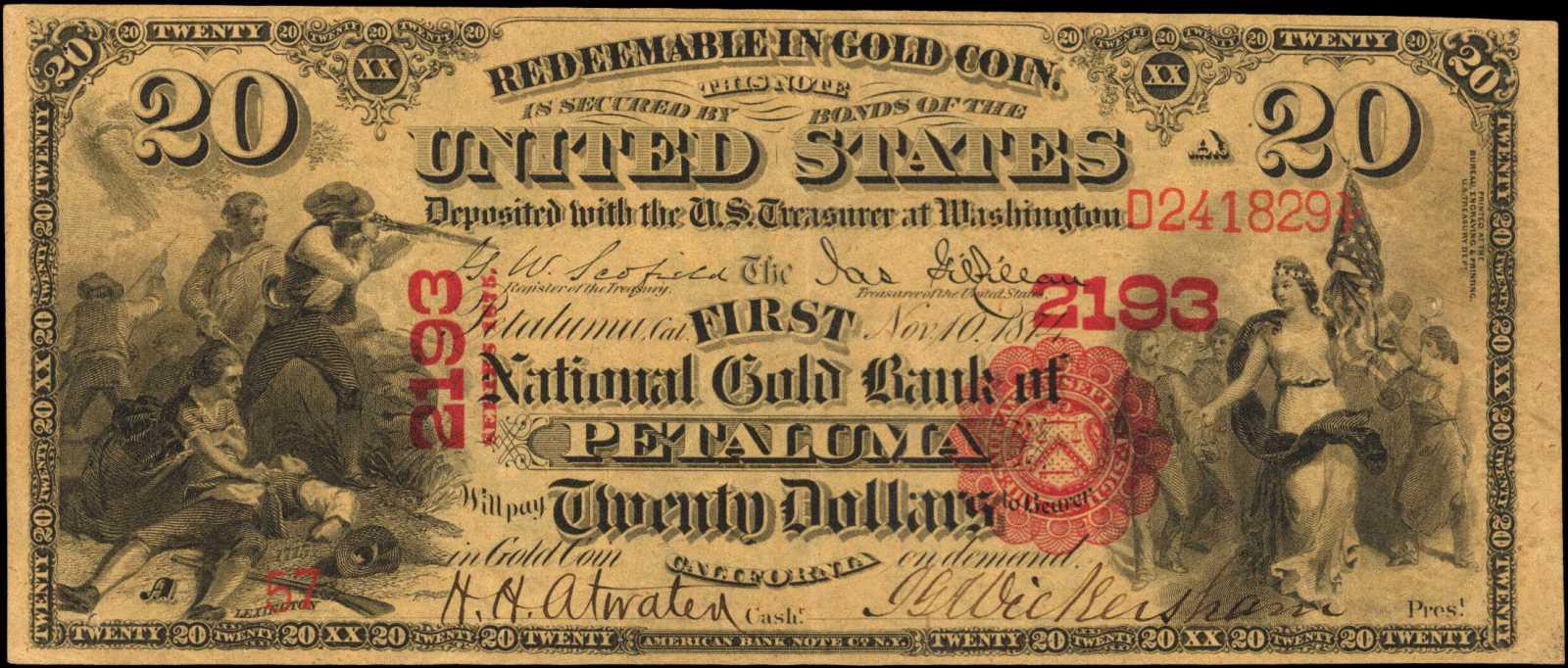 sample image for 1875 $20  Petaluma (Fr.# 1157)