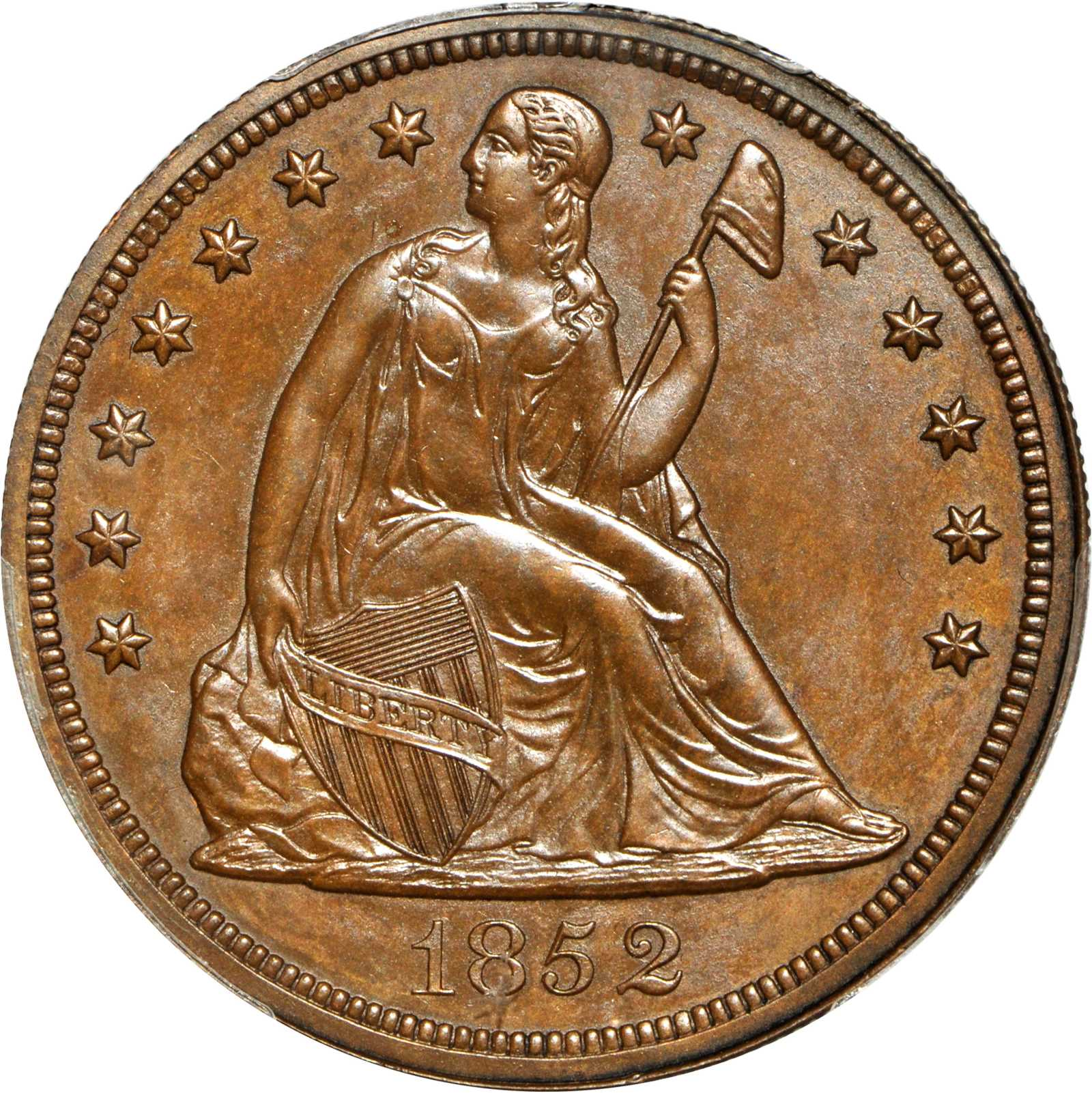 sample image for 1852 J-134, Restrike DTS$1 PR BN