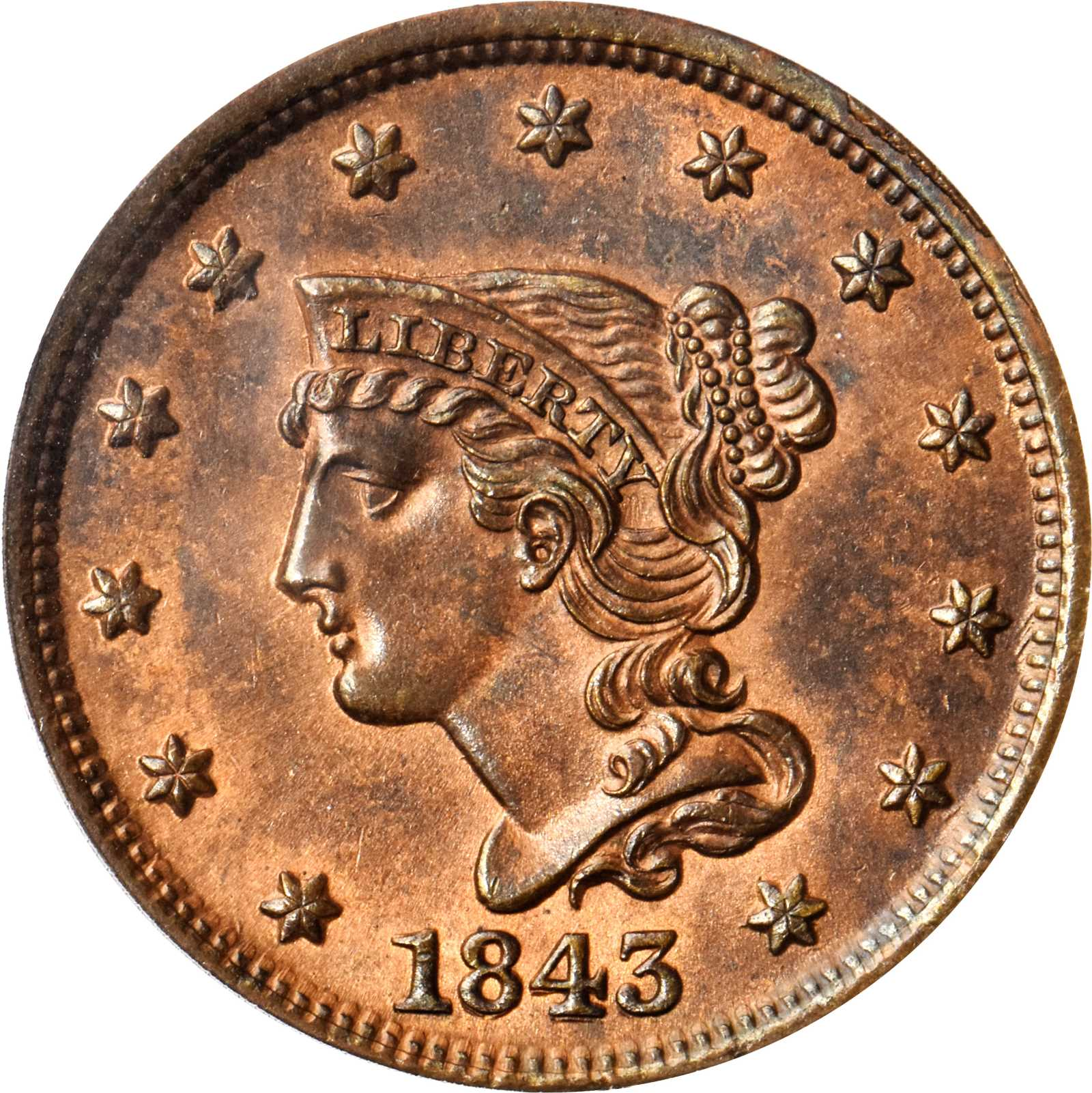 sample image for 1843 1c MS RB Petite Head, Small Letters