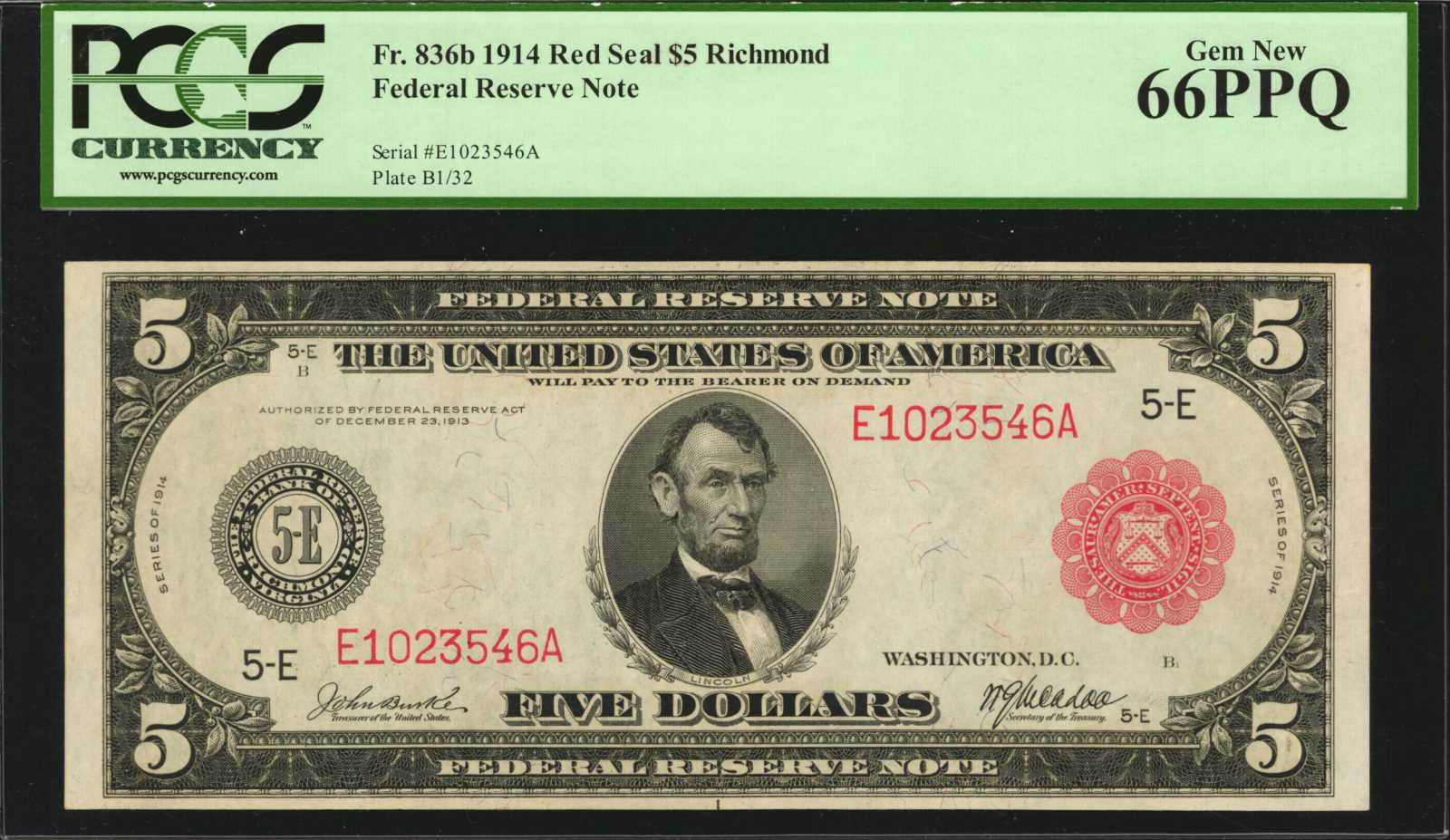 sample image for Fr.836B $5 Richmond RS