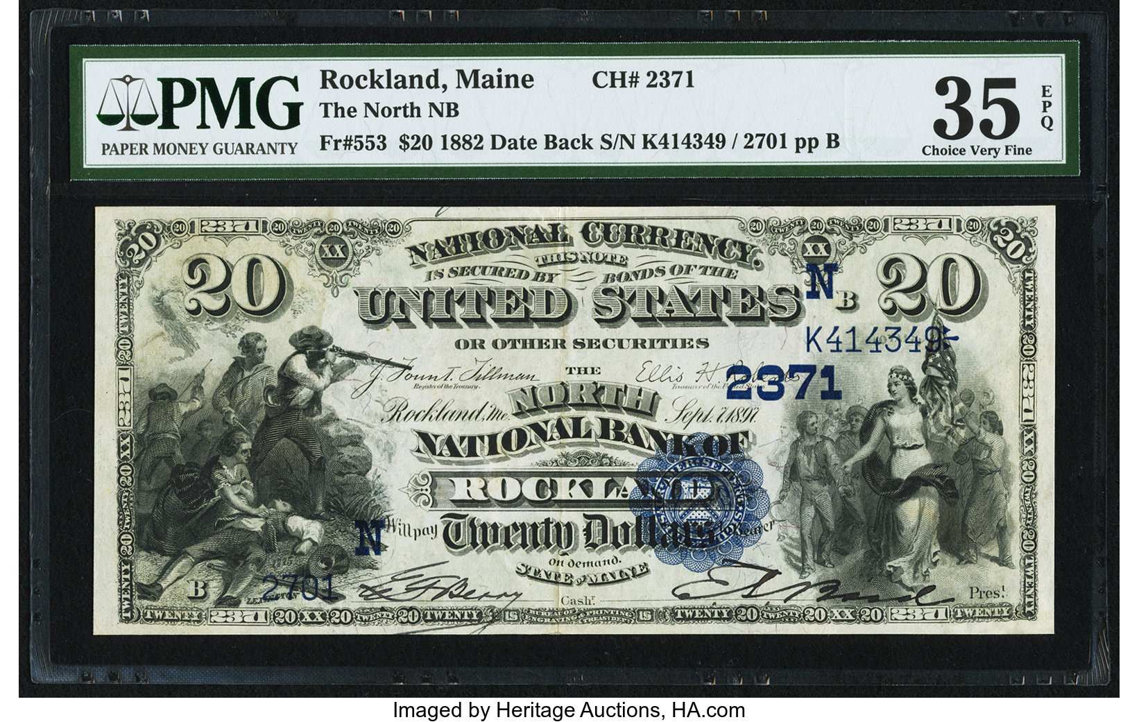 sample image for 1882 2nd Charter Period $20  Date Back 2nd Issue (Fr.# 553)