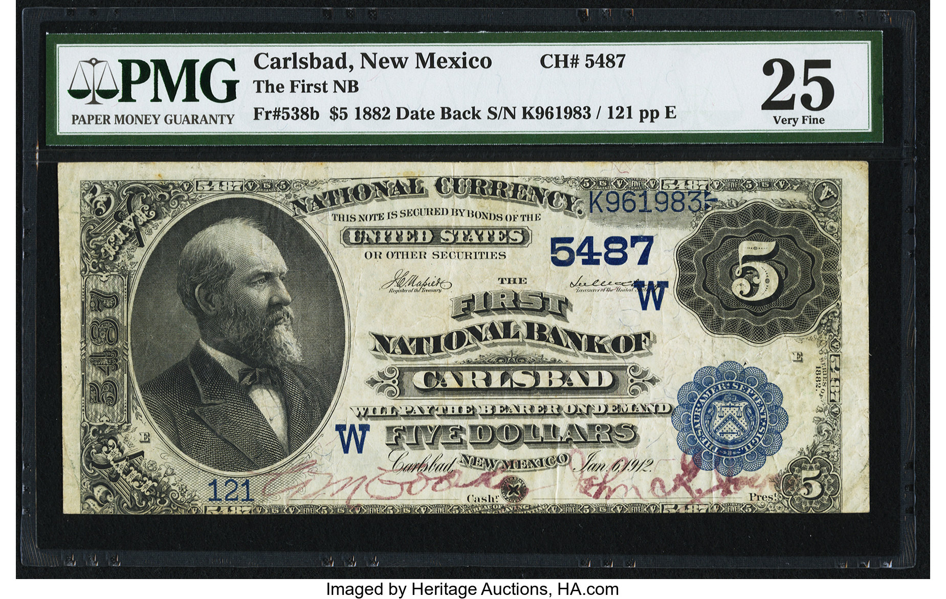 sample image for 1882 2nd Charter Period $5  Date Back 2nd Issue (Fr.# 538b)