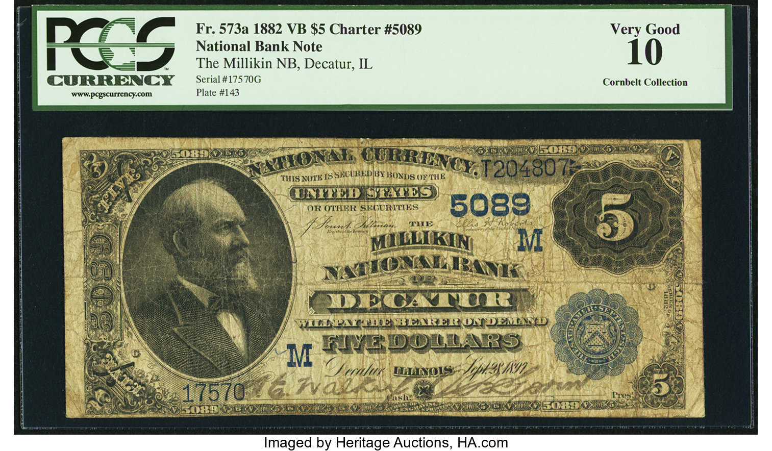 sample image for 1882 2nd Charter Period $5  Value Back 3rd Issue (Fr.# 573a)
