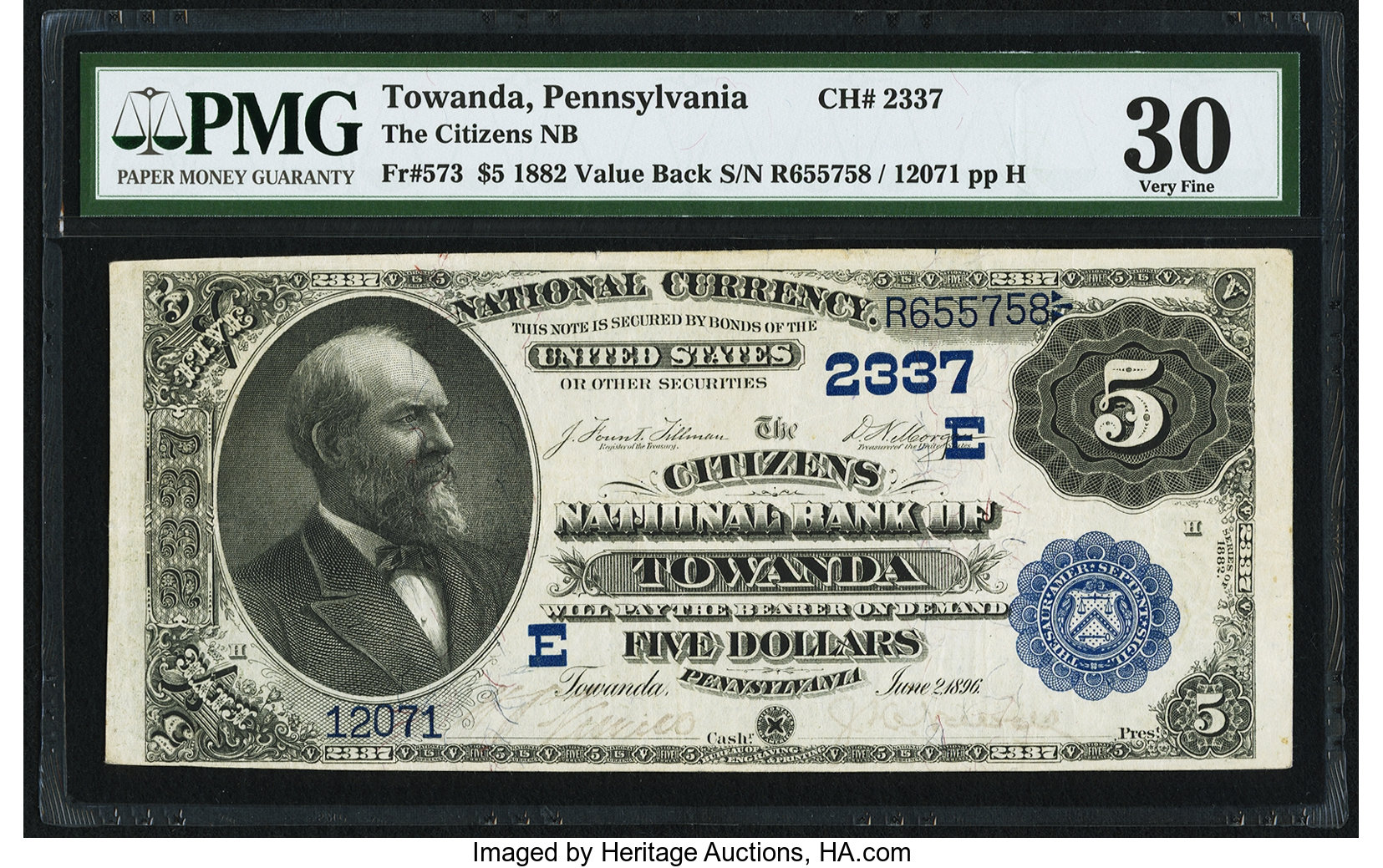 sample image for 1882 2nd Charter Period $5  Value Back 3rd Issue (Fr.# 573)