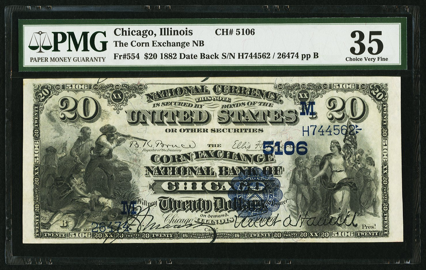 sample image for 1882 2nd Charter Period $20  Date Back 2nd Issue (Fr.# 554)