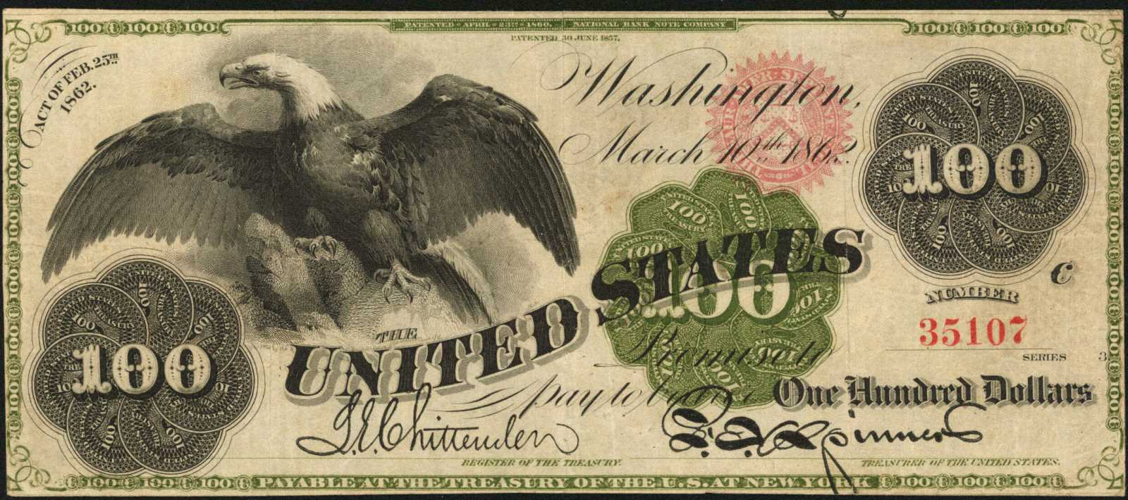 sample image for 1862 $100  Seal Type 2 (Fr.# 165a)