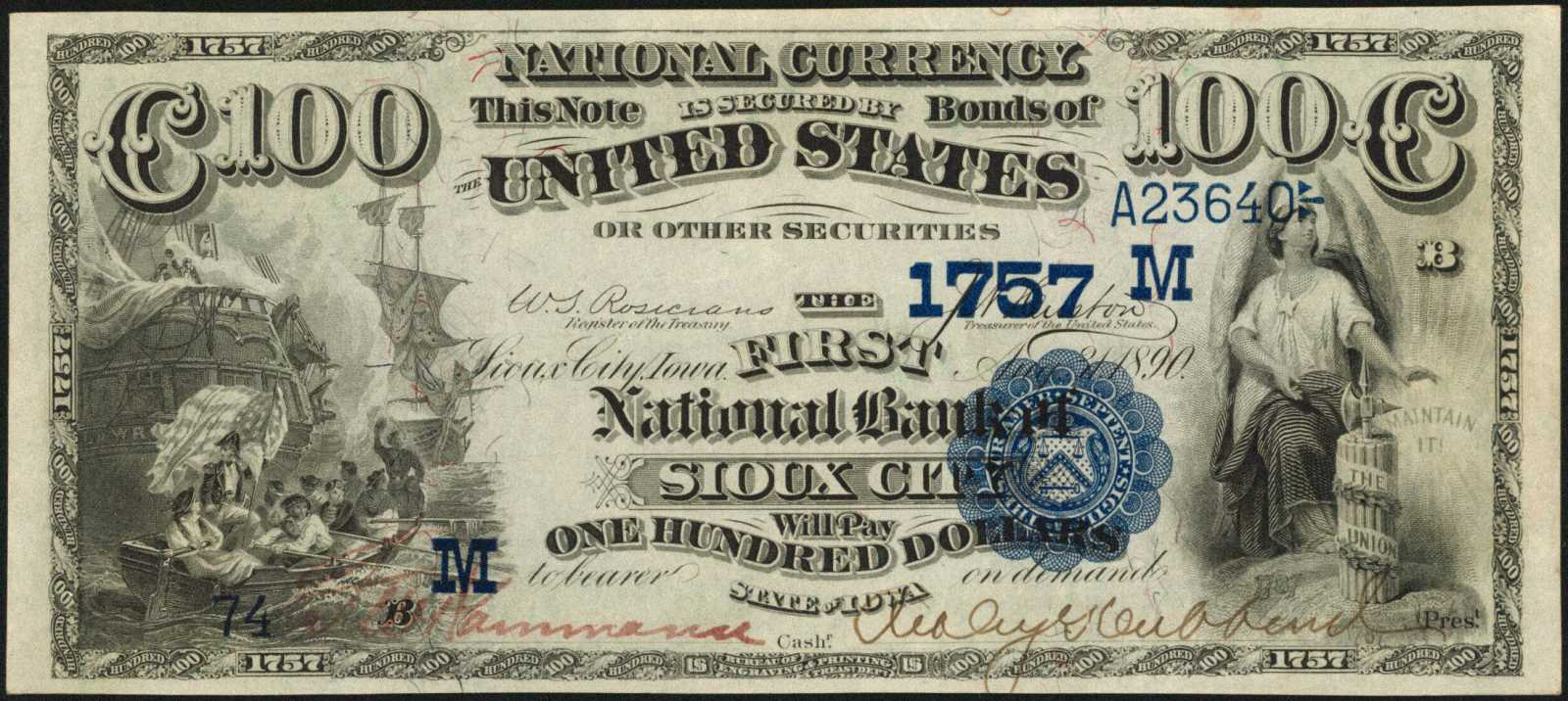 sample image for 1882 2nd Charter Period $100  Date Back 2nd Issue (Fr.# 566572TYPE) [Type]
