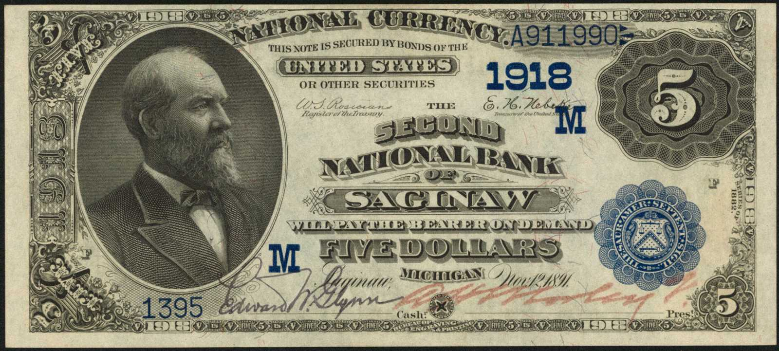 sample image for 1882 2nd Charter Period $5  Date Back 2nd Issue (Fr.# 533)