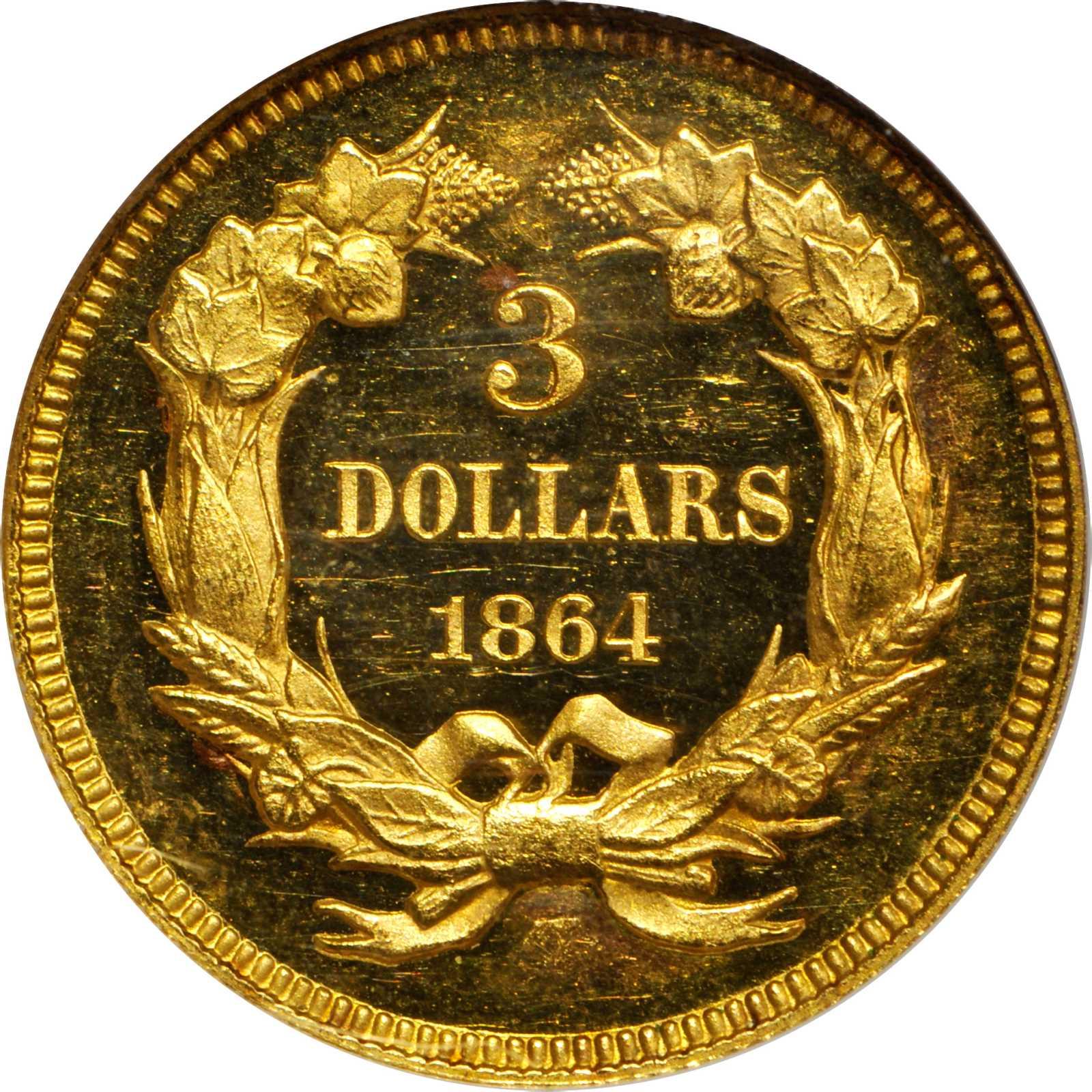 sample image for 1864 $3  PR DCAM