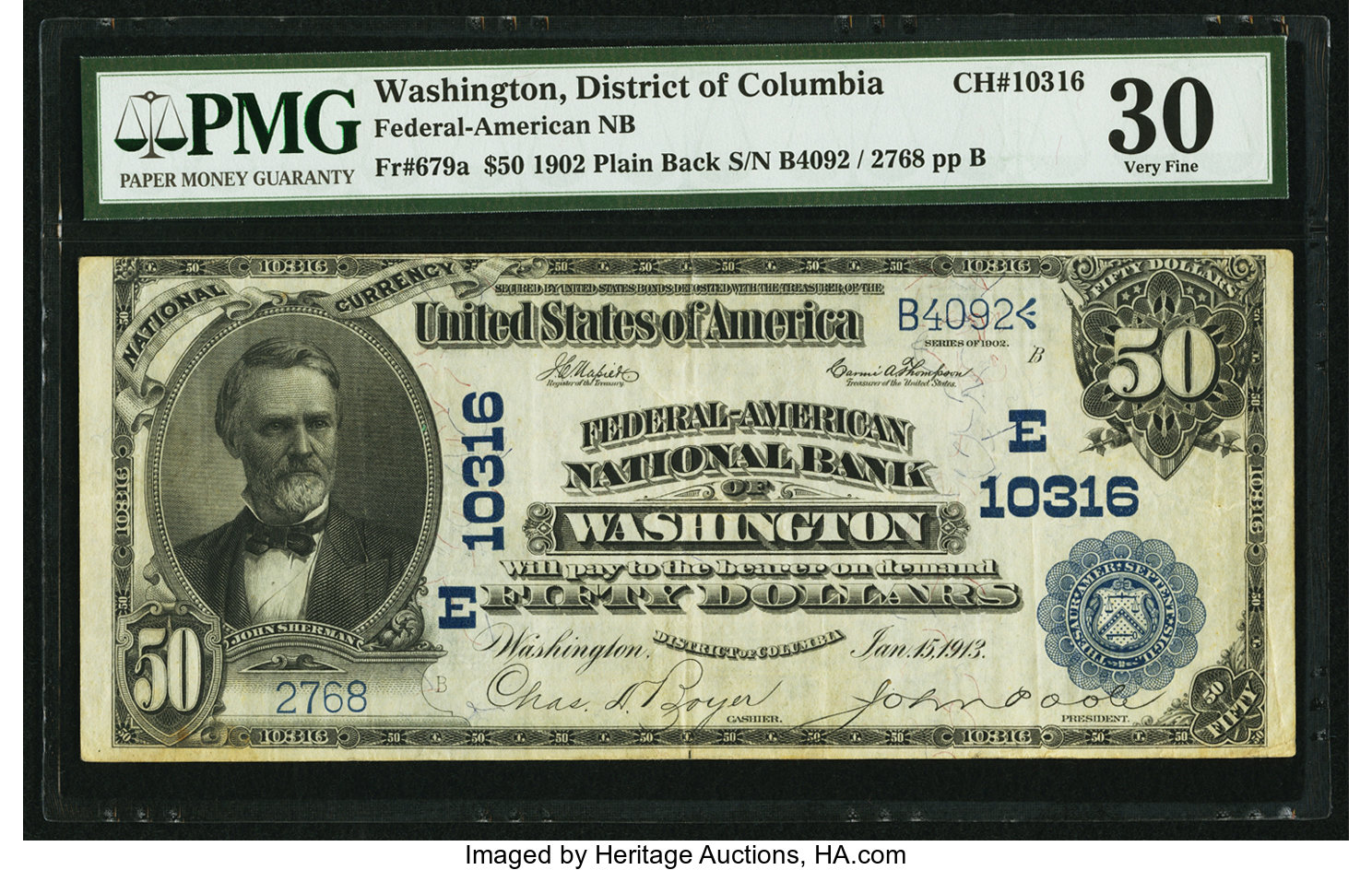 sample image for 1902 3rd Charter Period $50  Plain Back 3rd Issue (Fr.# 679a)