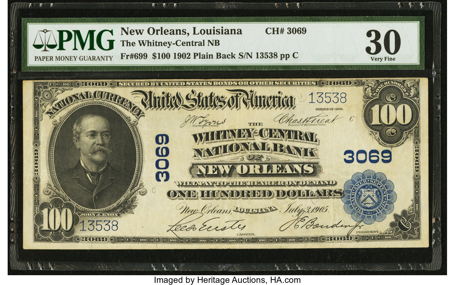 sample image for 1902 3rd Charter Period $100  Plain Back 3rd Issue (Fr.# 699)
