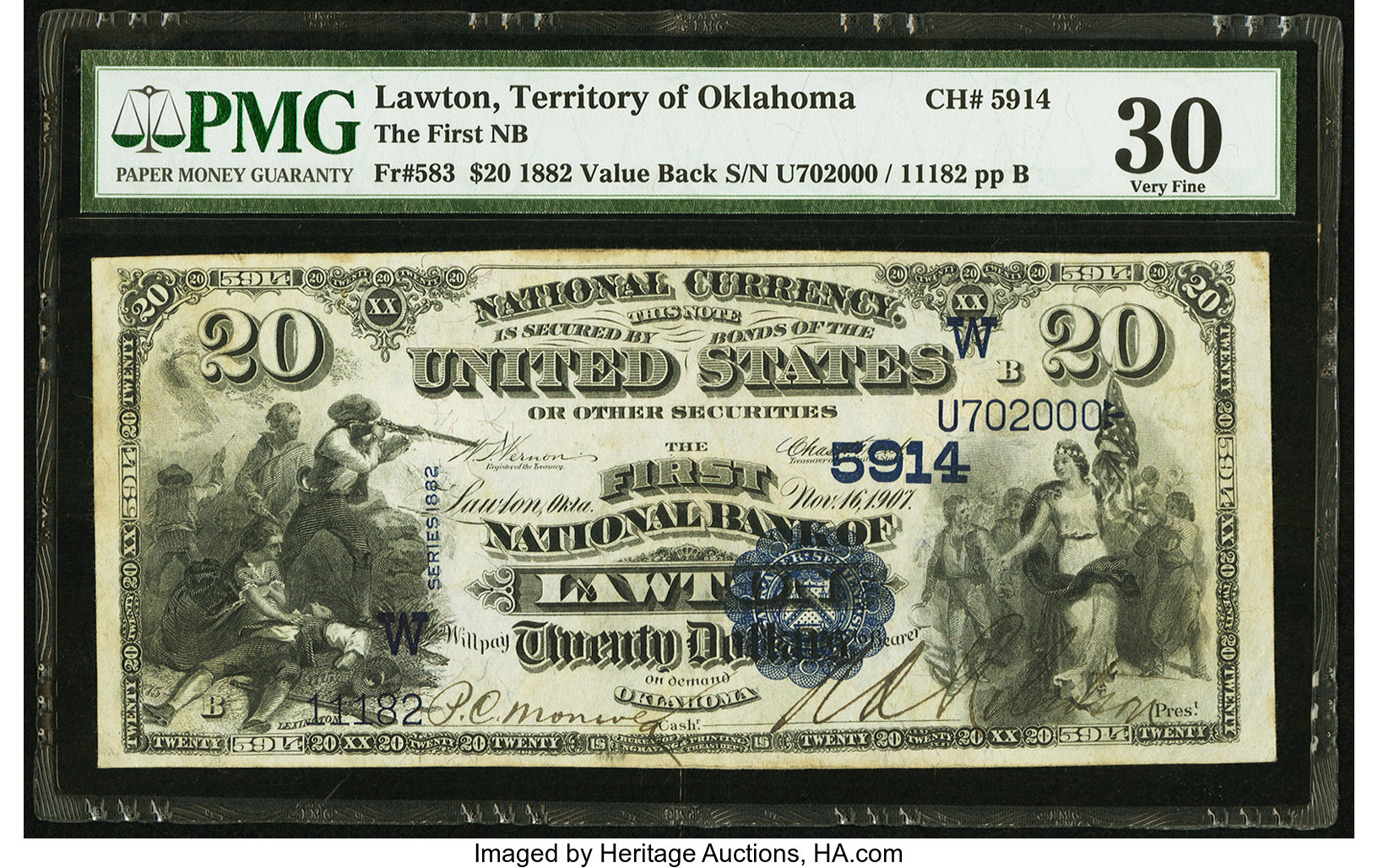 sample image for 1882 2nd Charter Period $20  Value Back 3rd Issue (Fr.# 583)