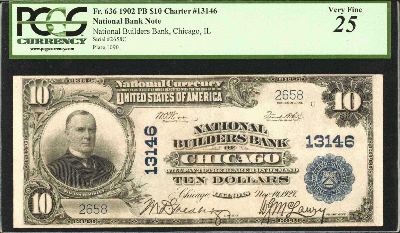 sample image for 1902 3rd Charter Period $10  Plain Back 3rd Issue (Fr.# 636)
