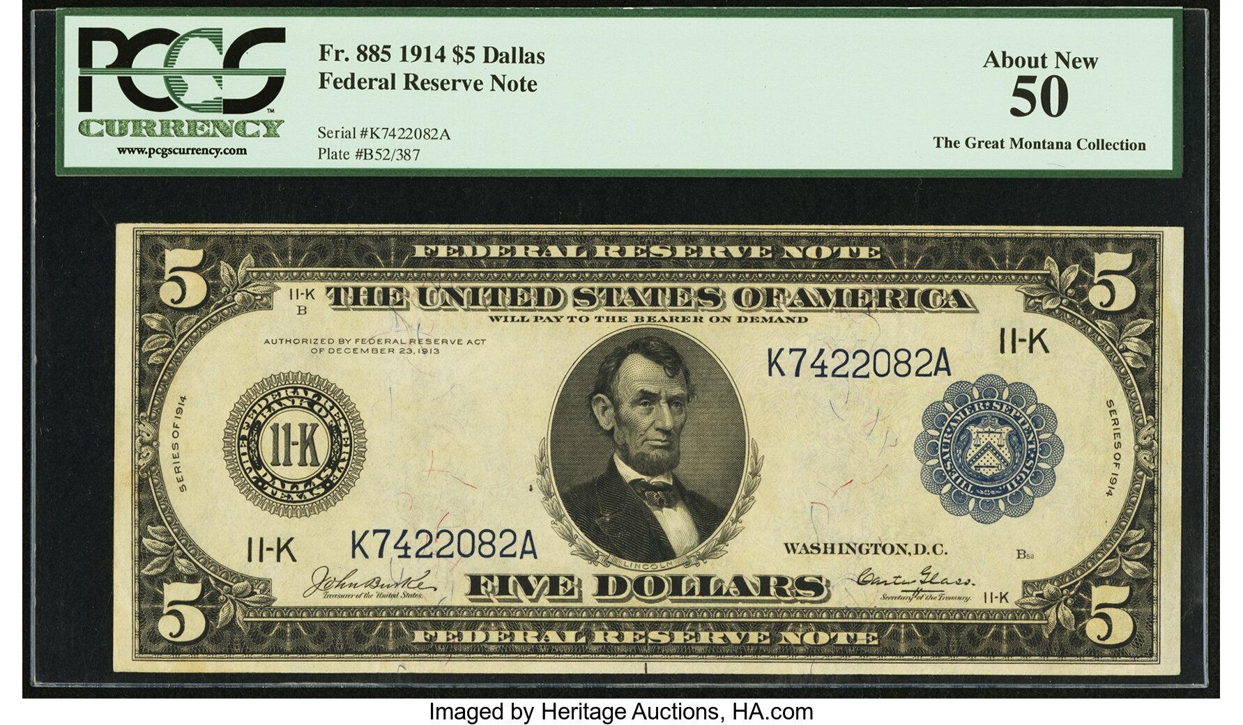 sample image for Fr.885 $5 Dallas
