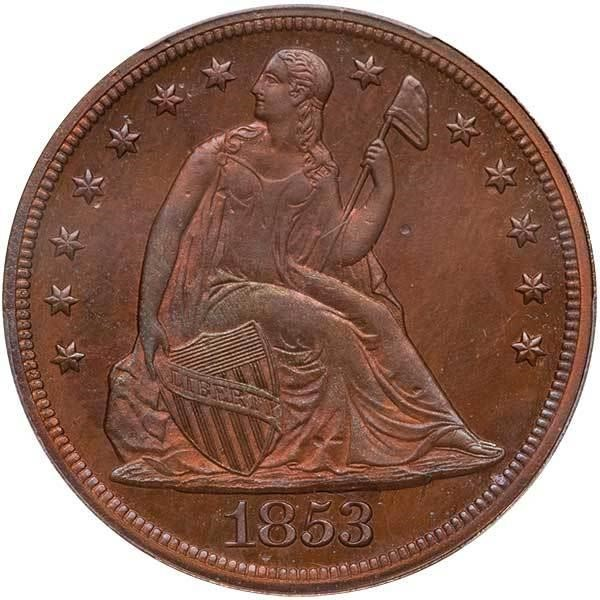 sample image for 1853 J-154, Restrike DTS$1 PR RB