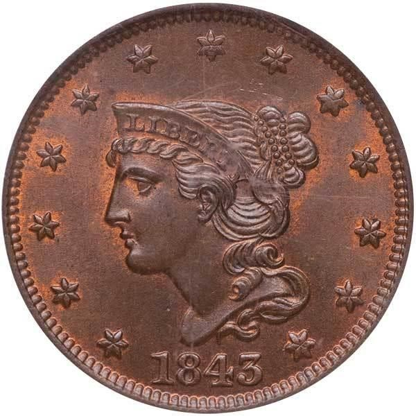sample image for 1843 1c MS BN Petite Head, Small Letters