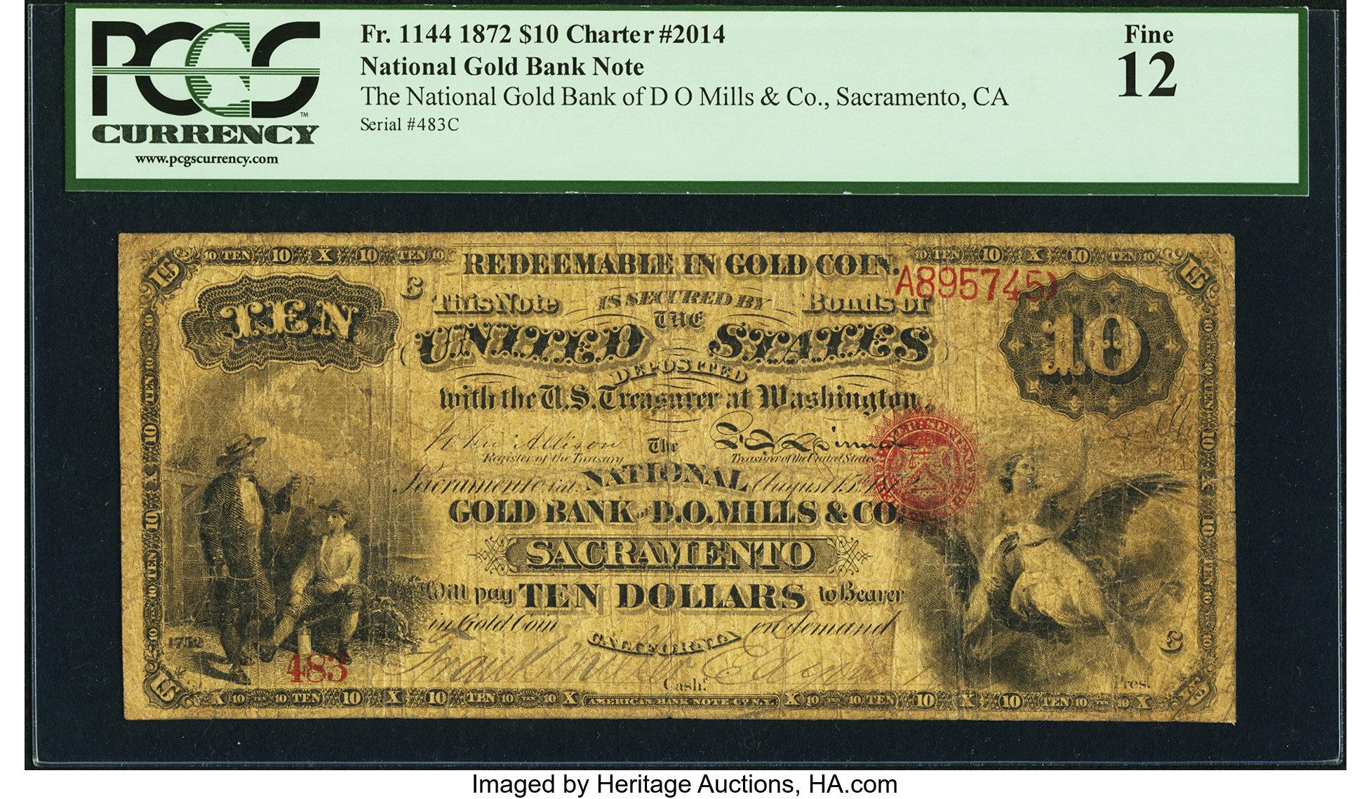 sample image for 1872 $10  Sacramento (Fr.# 1144)