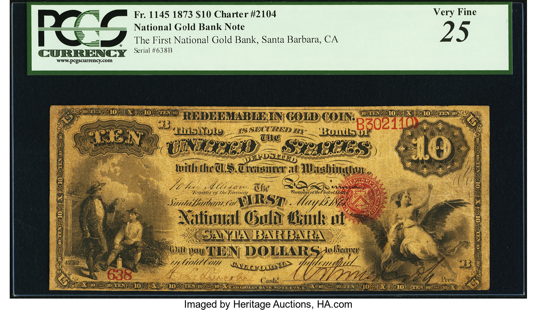 sample image for 1873 $10  Santa Barbara (Fr.# 1145)