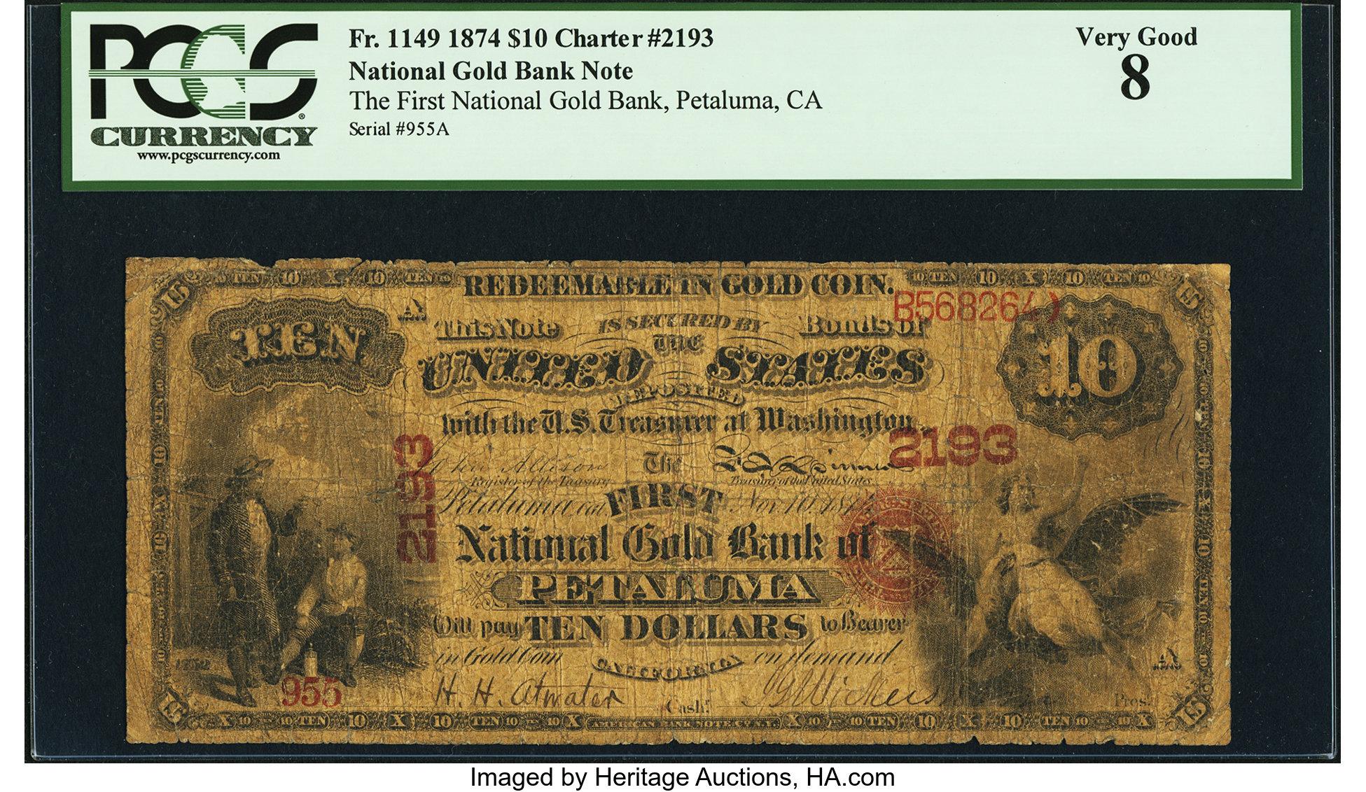 sample image for 1874 $10  Petaluma (Fr.# 1149)