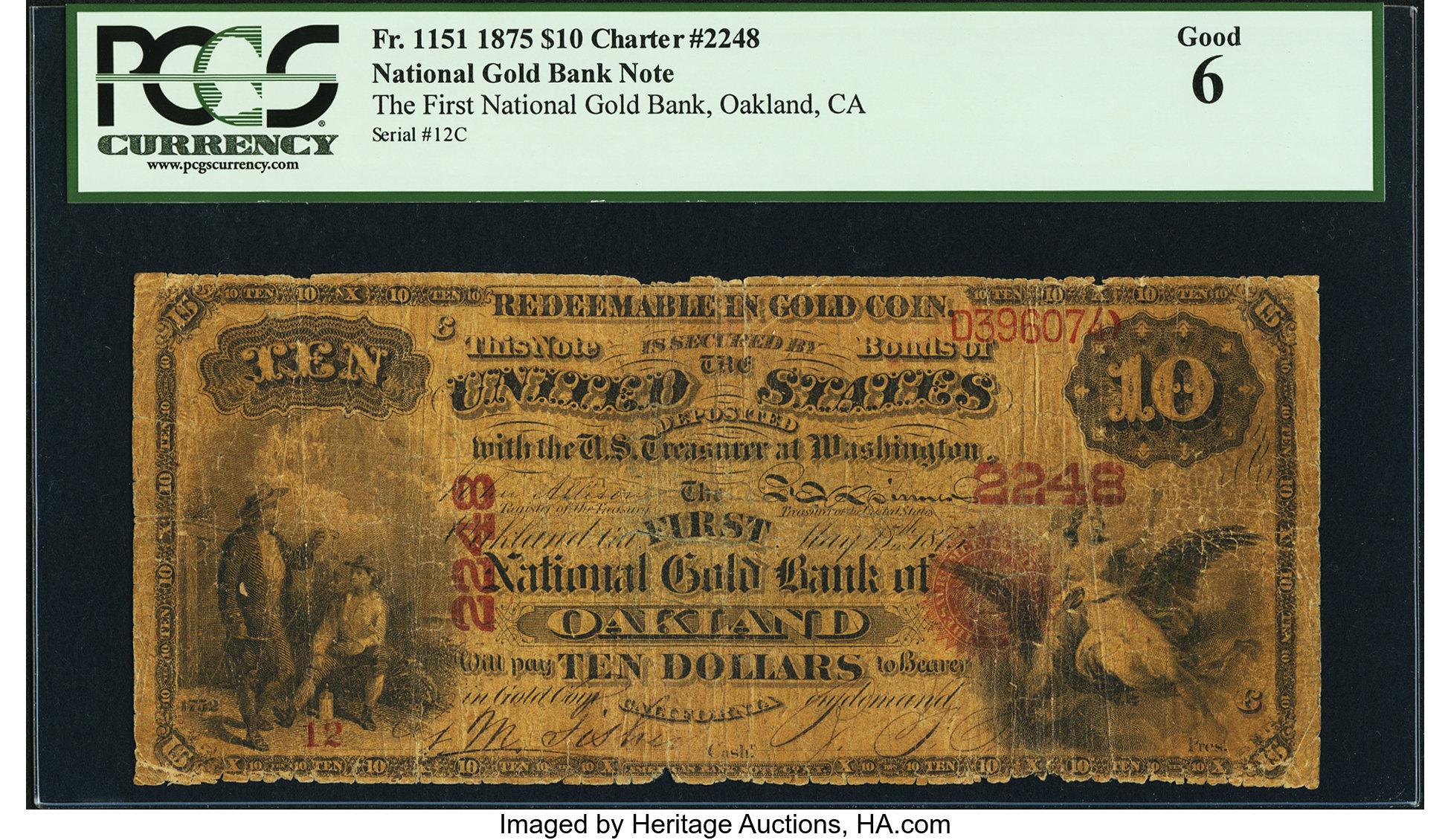 sample image for 1875 $10  Oakland (Fr.# 1151)