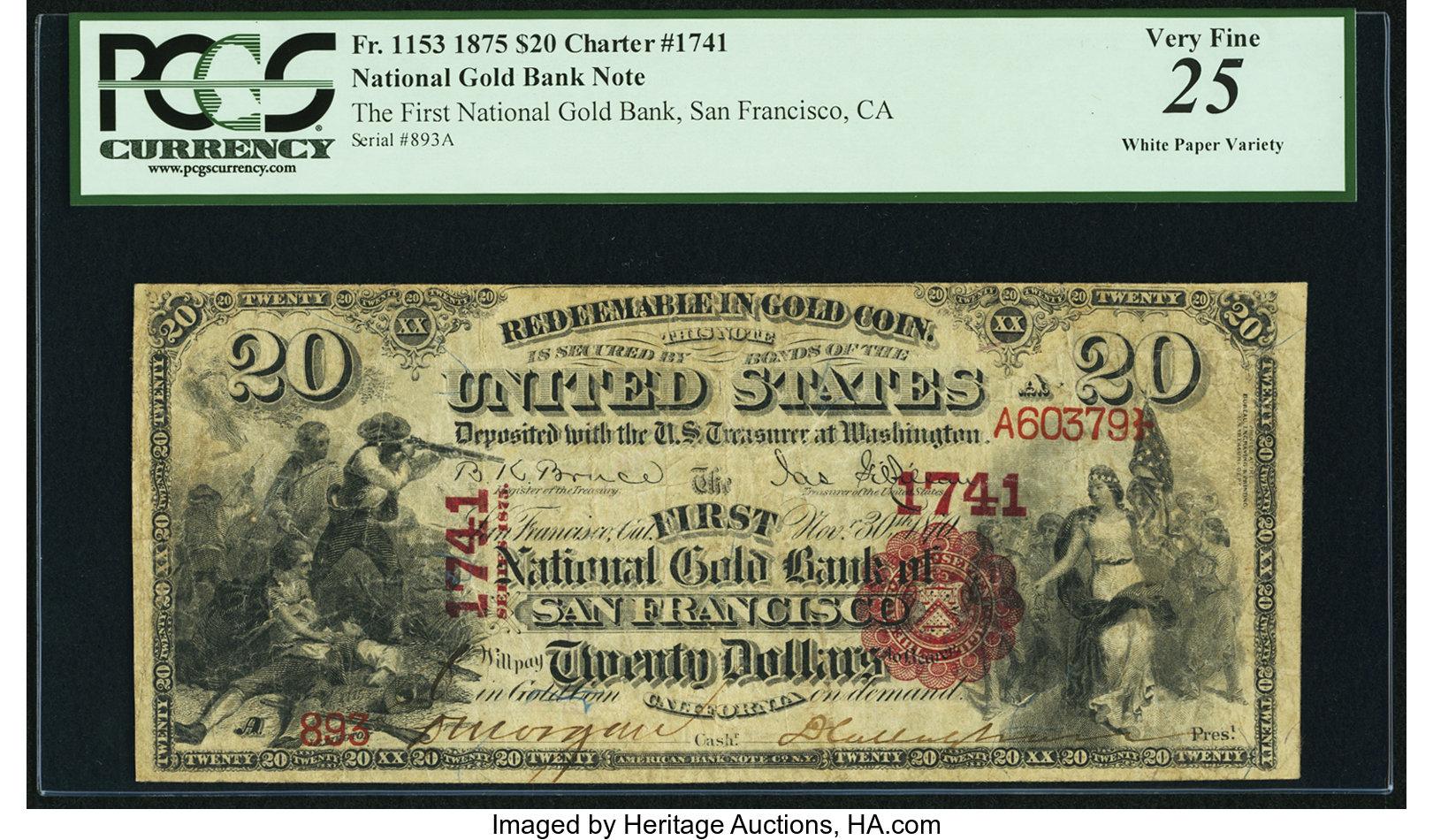 sample image for 1875 $20  San Francisco (Fr.# 1153)