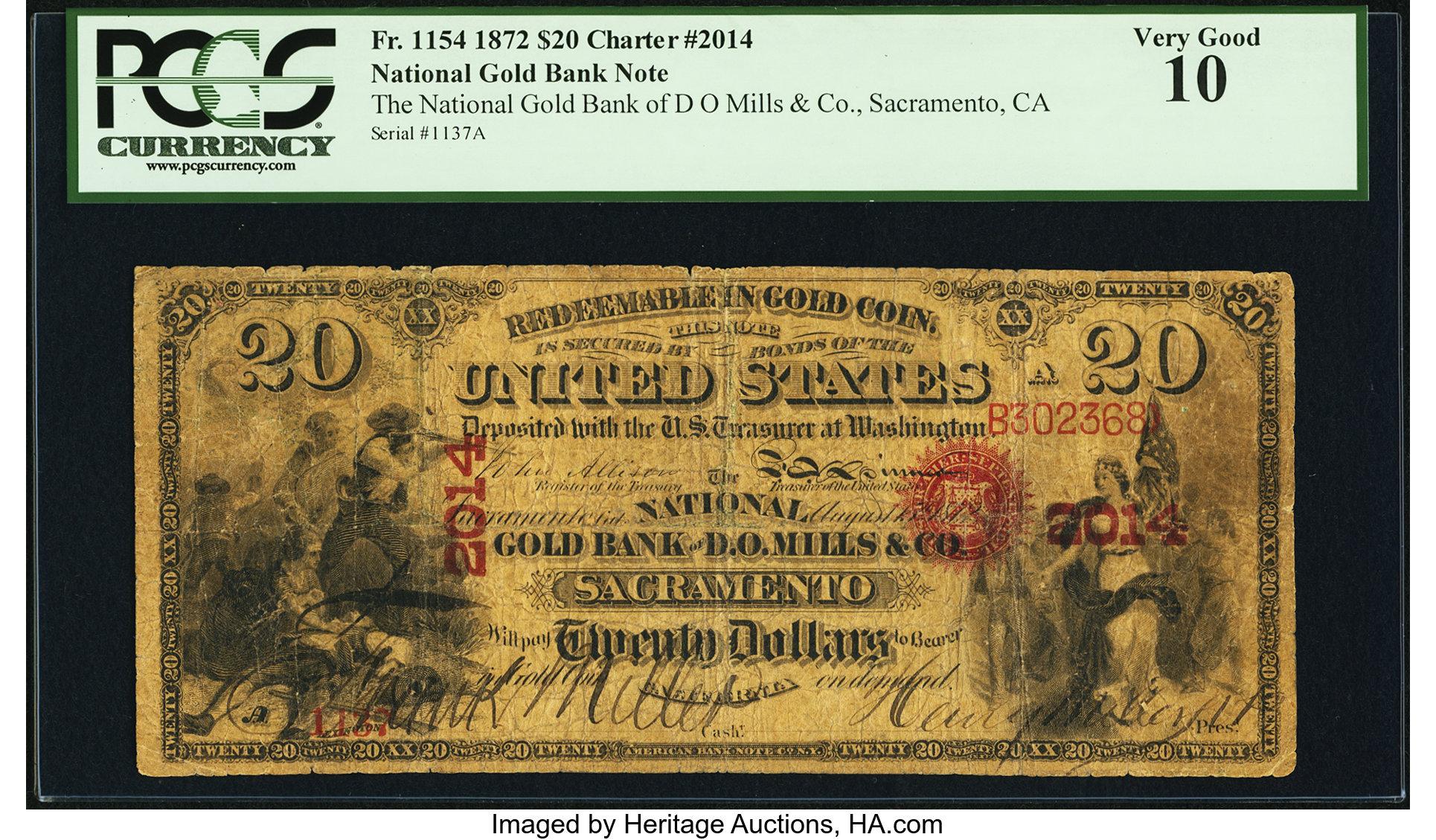 sample image for 1872 $20  Sacramento (Fr.# 1154)