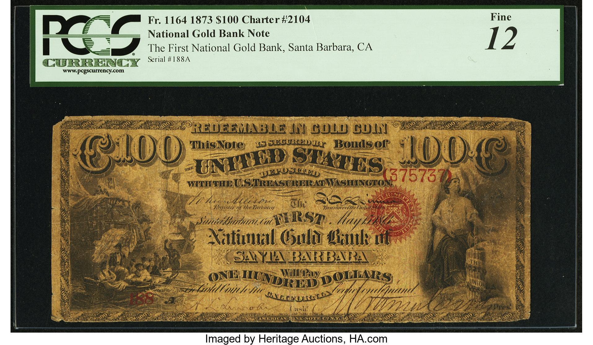 sample image for 1873 $100  Santa Barbara (Fr.# 1164)