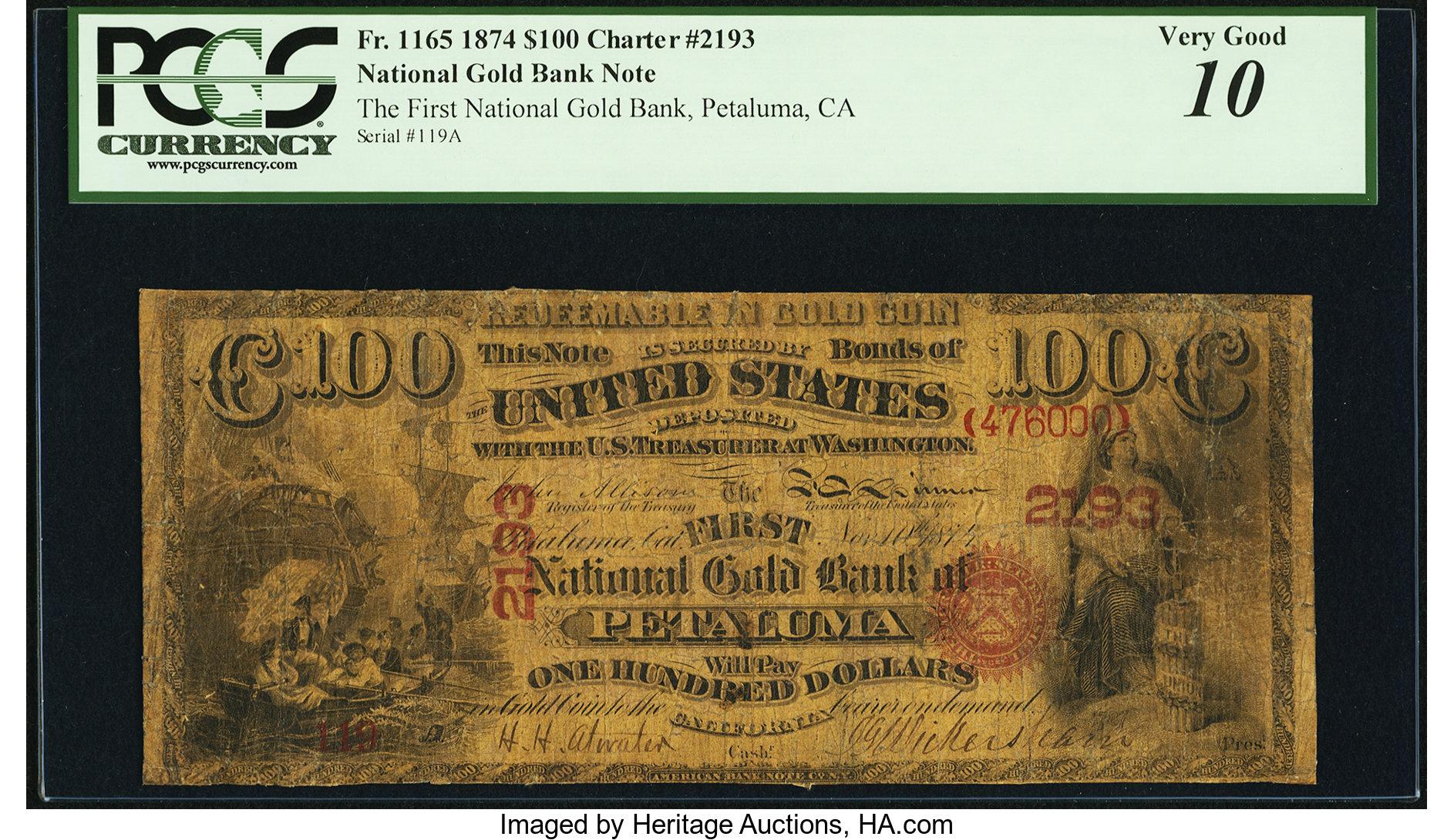 sample image for 1874 $100  Petaluma (Fr.# 1165)