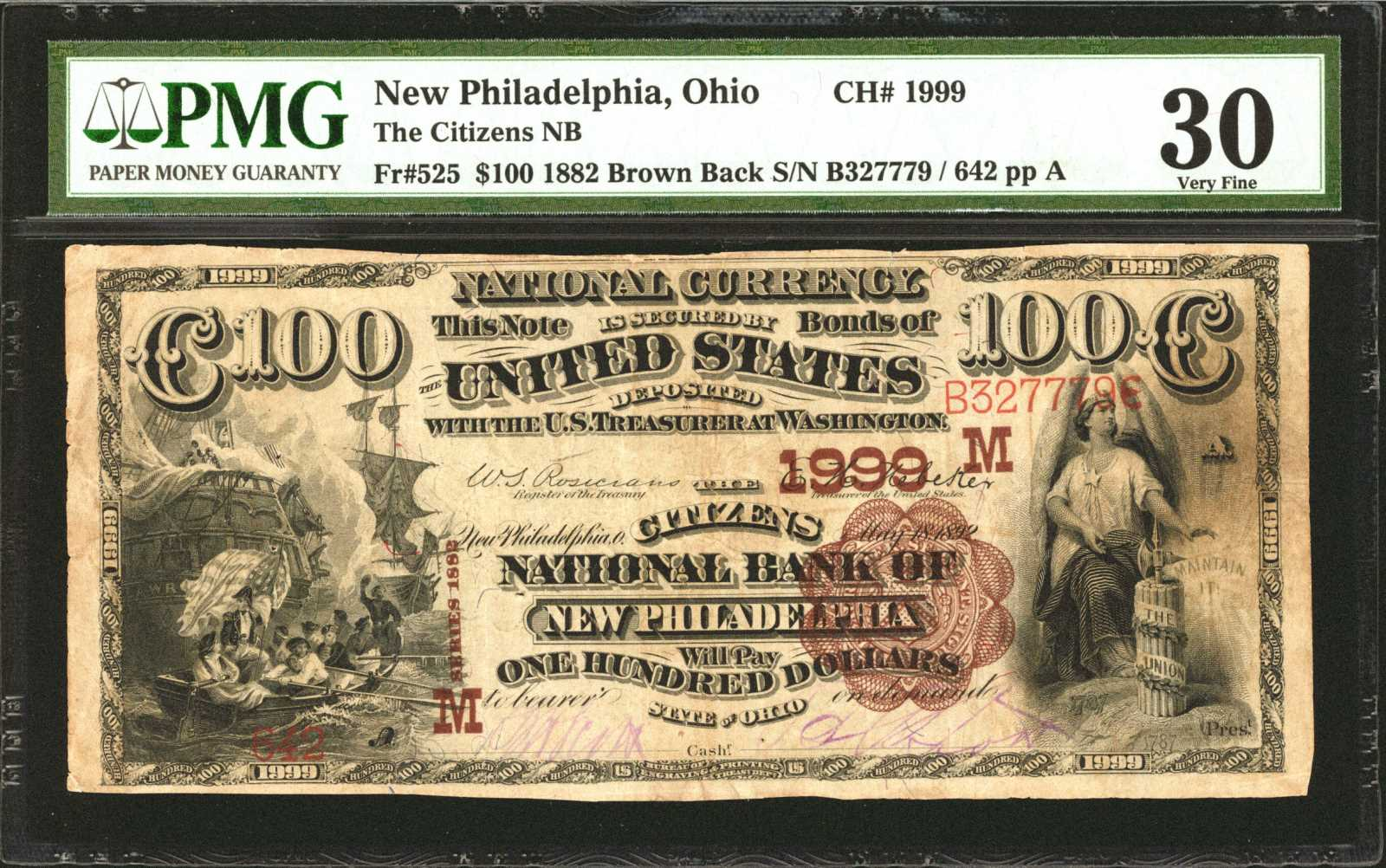 sample image for 1882 2nd Charter Period $100  Brown Back 1st Issue (Fr.# 525)