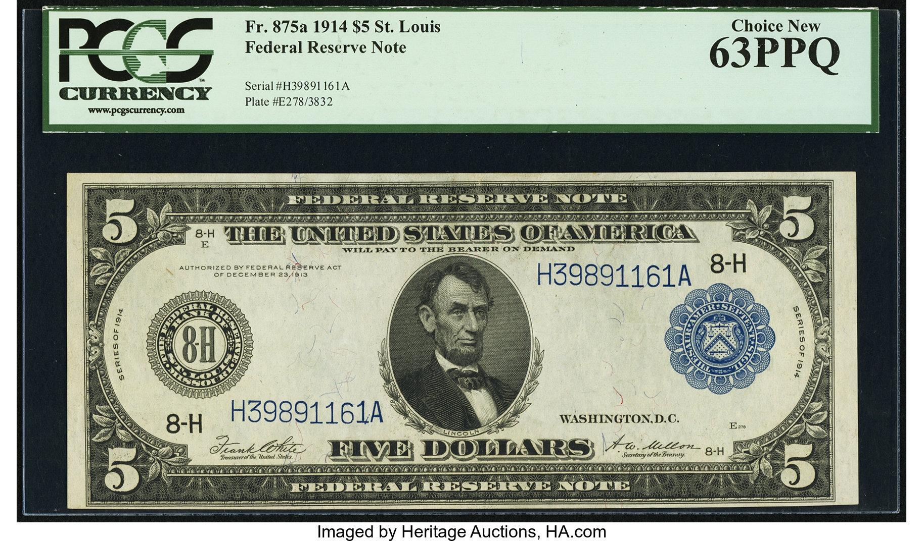 sample image for Fr.875A $5 St.L