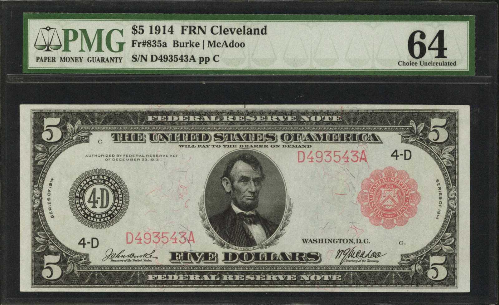 sample image for Fr.835A $5 Cleveland RS