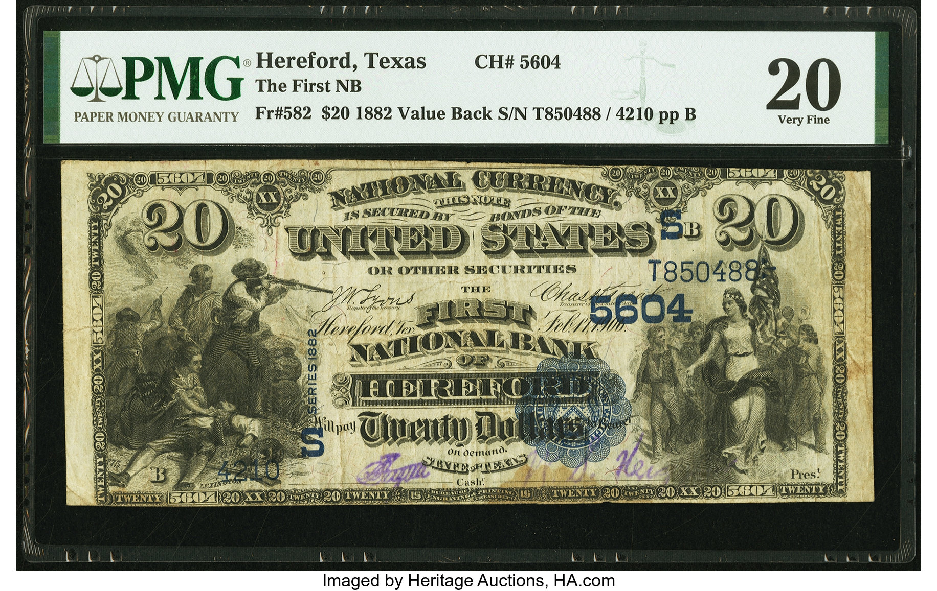 sample image for 1882 2nd Charter Period $20  Value Back 3rd Issue (Fr.# 582)
