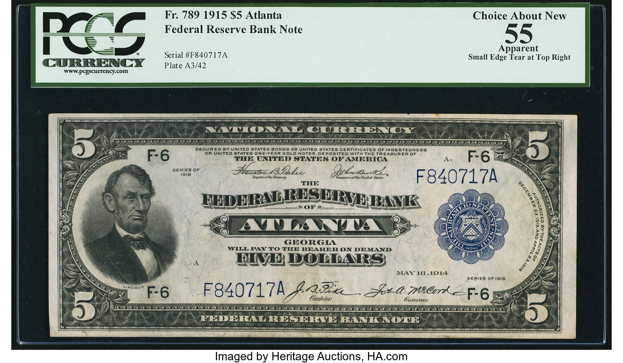 sample image for 1915 $5  Atlanta (Fr.# 789)