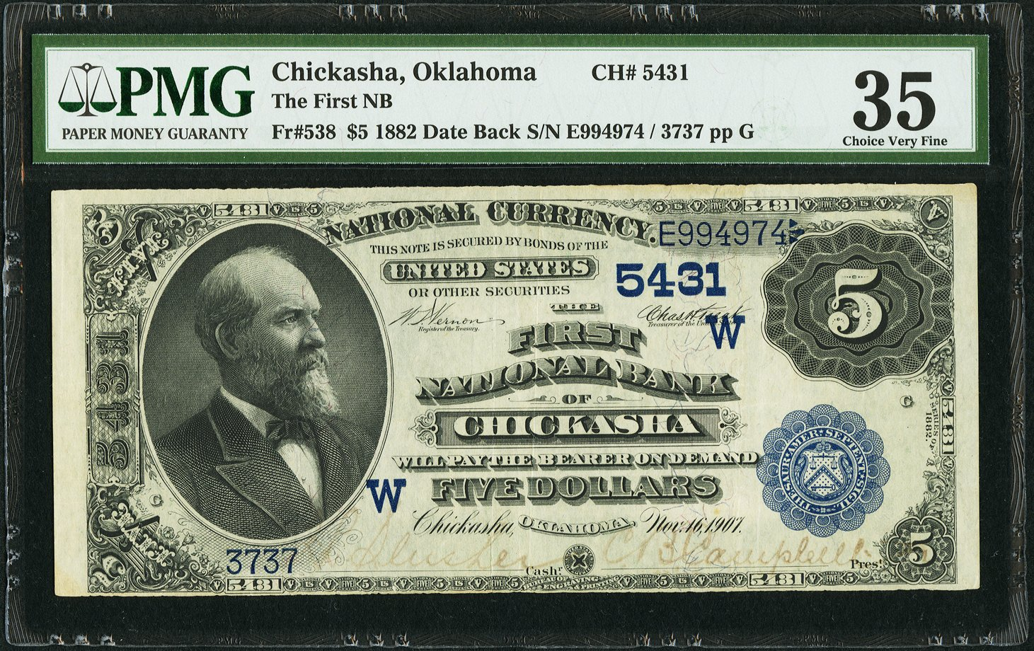 sample image for 1882 2nd Charter Period $5  Date Back 2nd Issue (Fr.# 538)