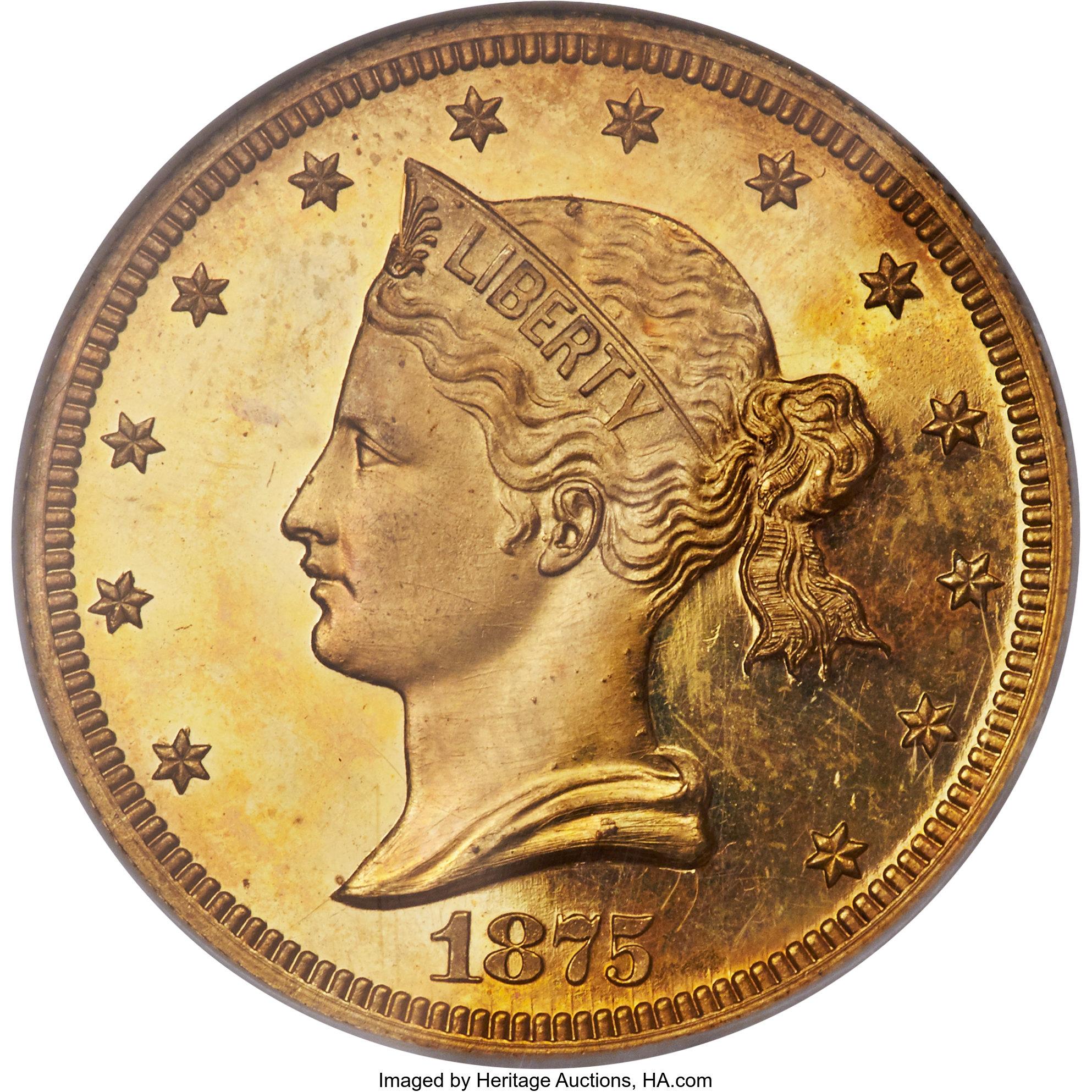 sample image for 1875 P$10 (J1444) Gilt PR