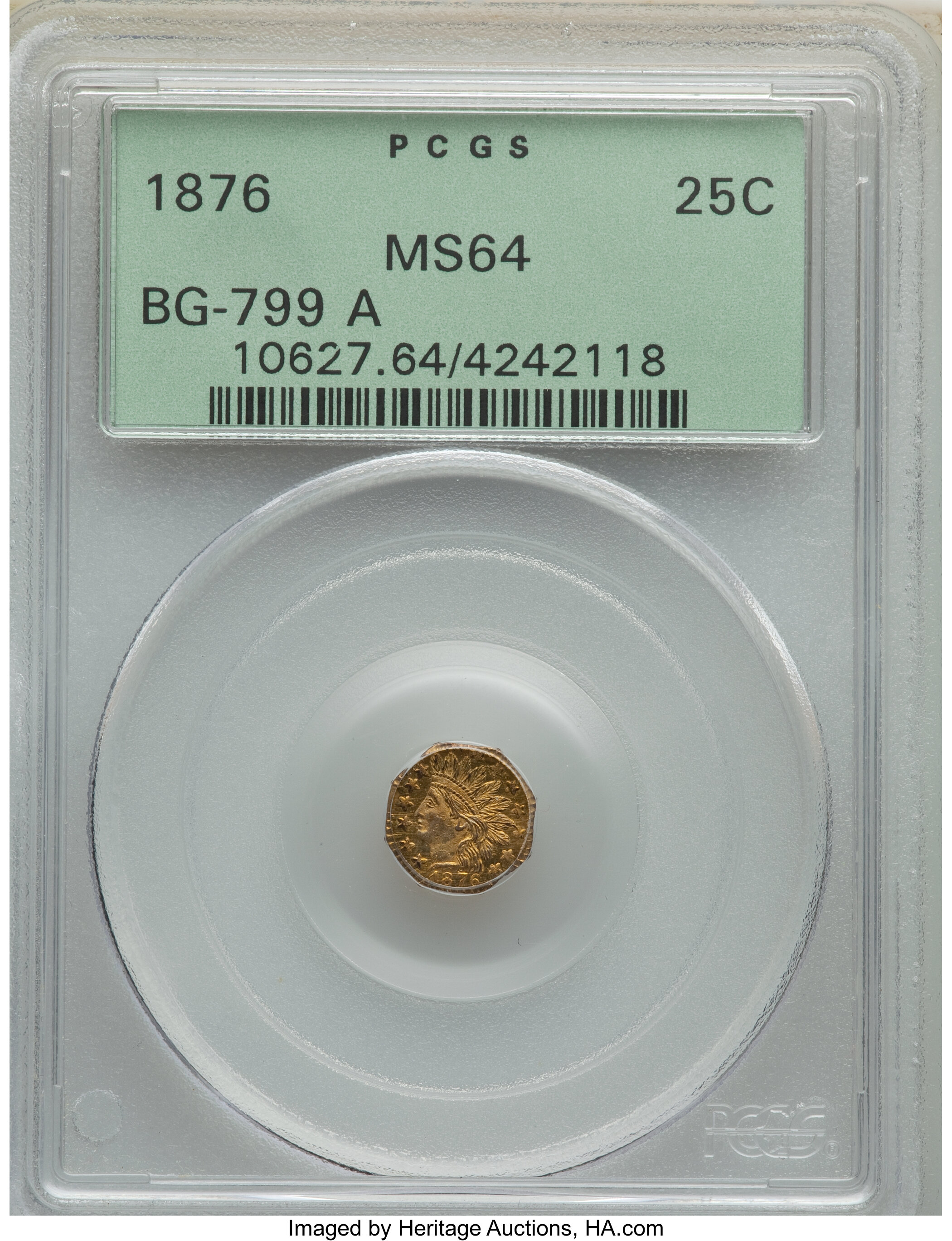 sample image for 1876 Cal. Gold 25c MS (BG-799A)