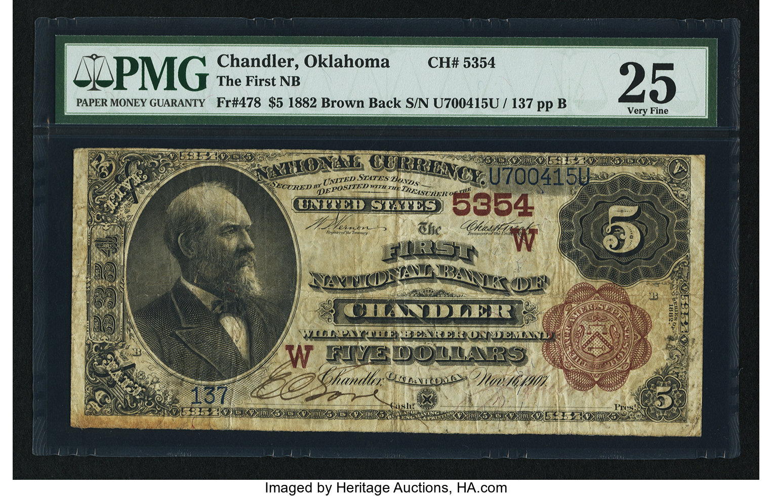 sample image for 1882 2nd Charter Period $5  Brown Back 1st Issue (Fr.# 478)